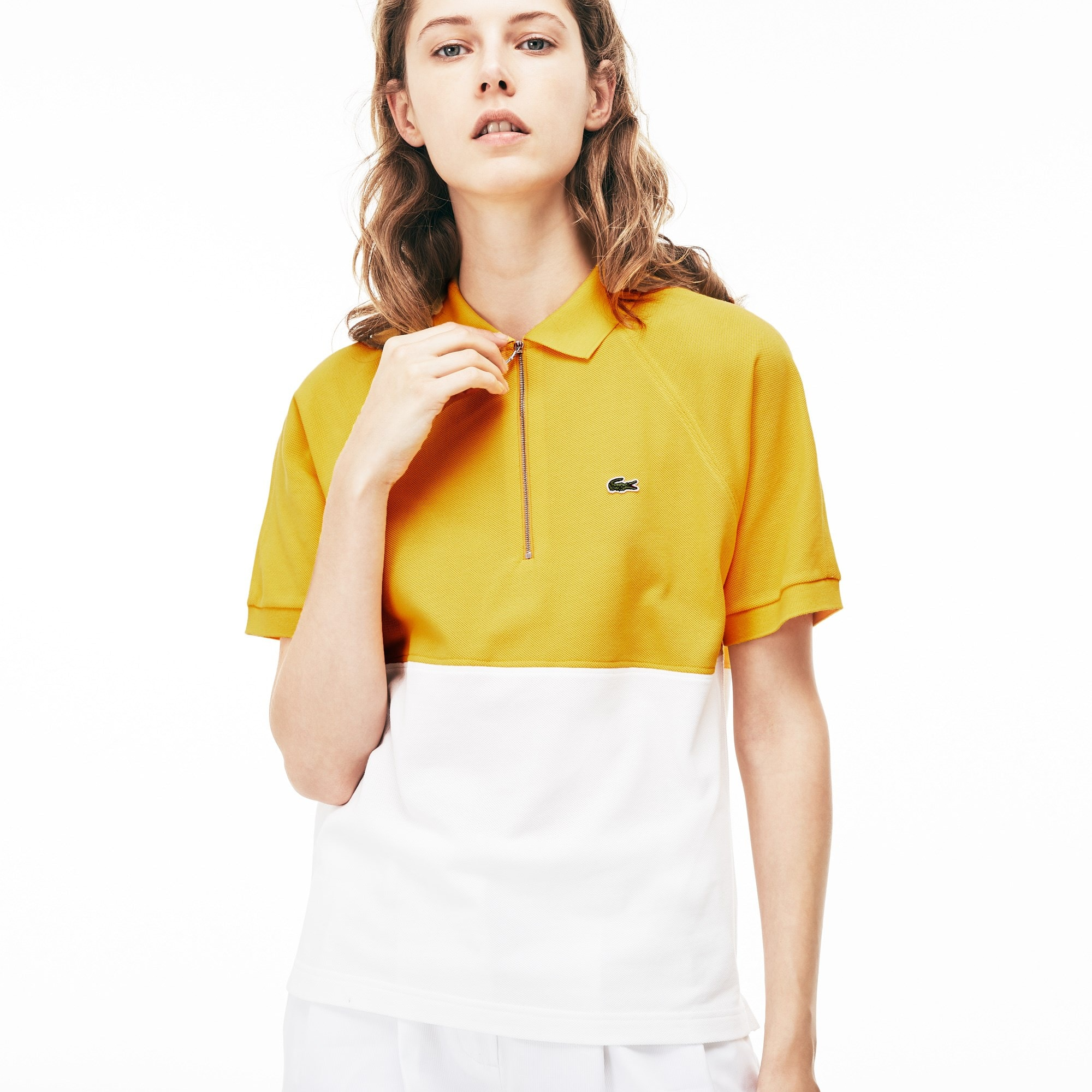 Slim Fit Damen Petit Piqué Poloshirt mit Colorblock-Design