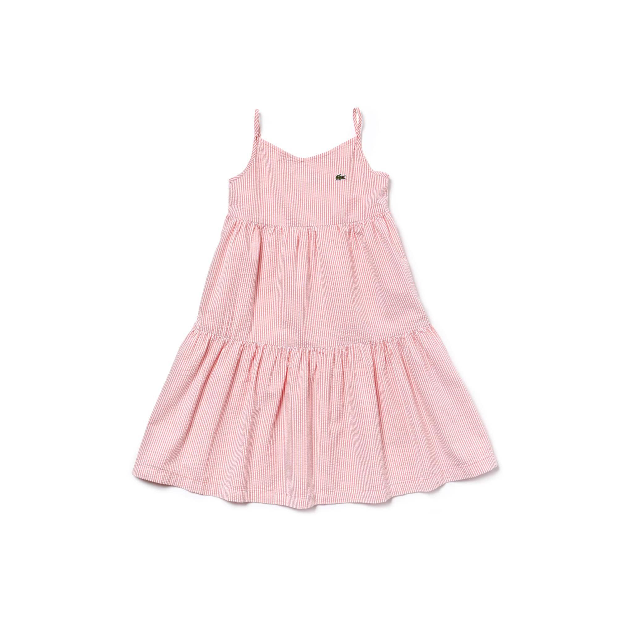 Mädchen Seersucker-Riemchenkleid aus Baumwolle