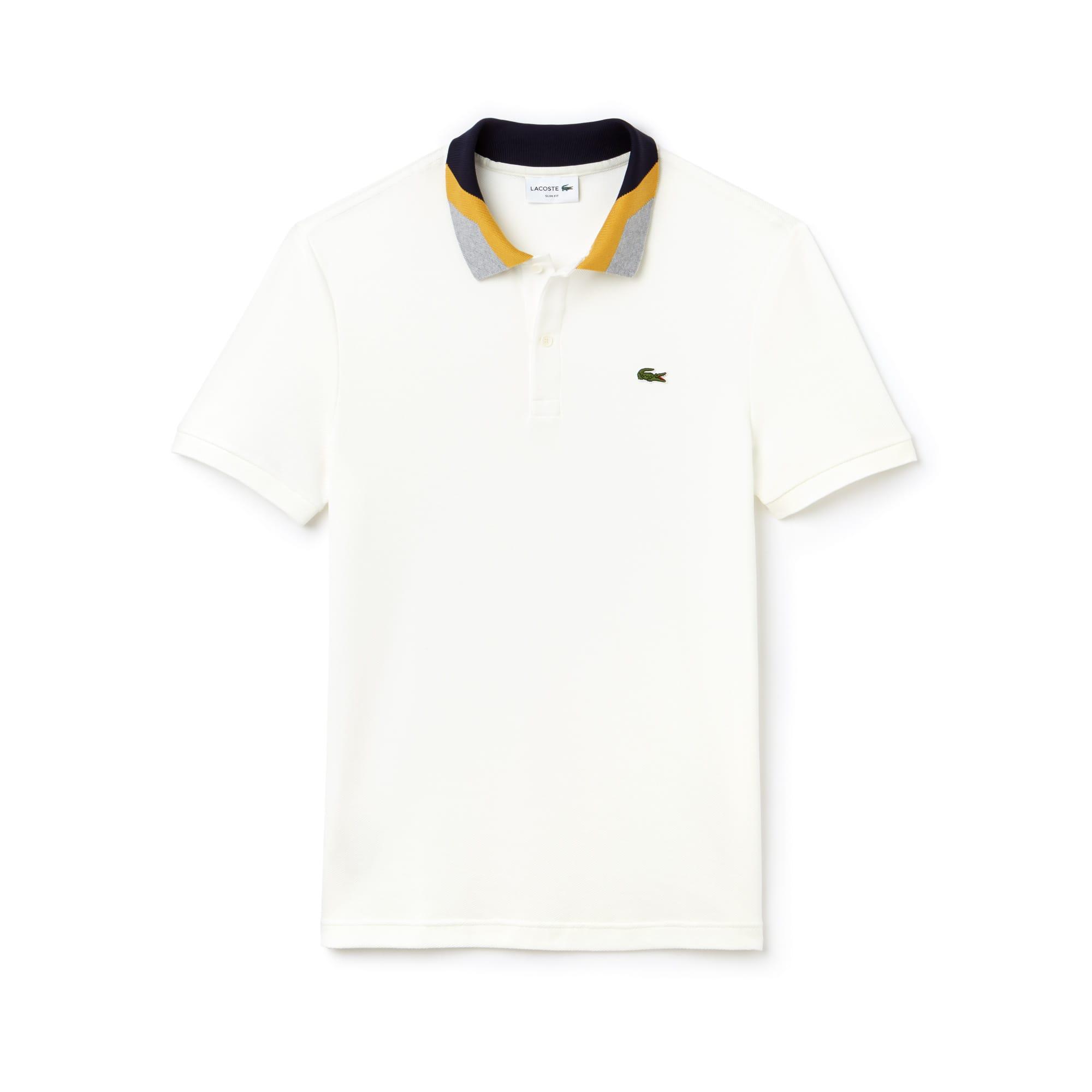 Slim Fit Herren-Poloshirt aus Piqué mit Colorblocks und Streifen