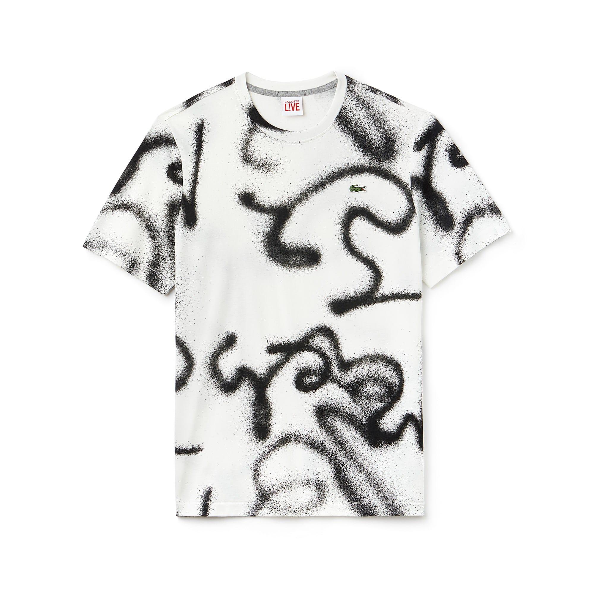Herren LACOSTE LIVE Rundhals Jersey T-Shirt mit Graffiti Print