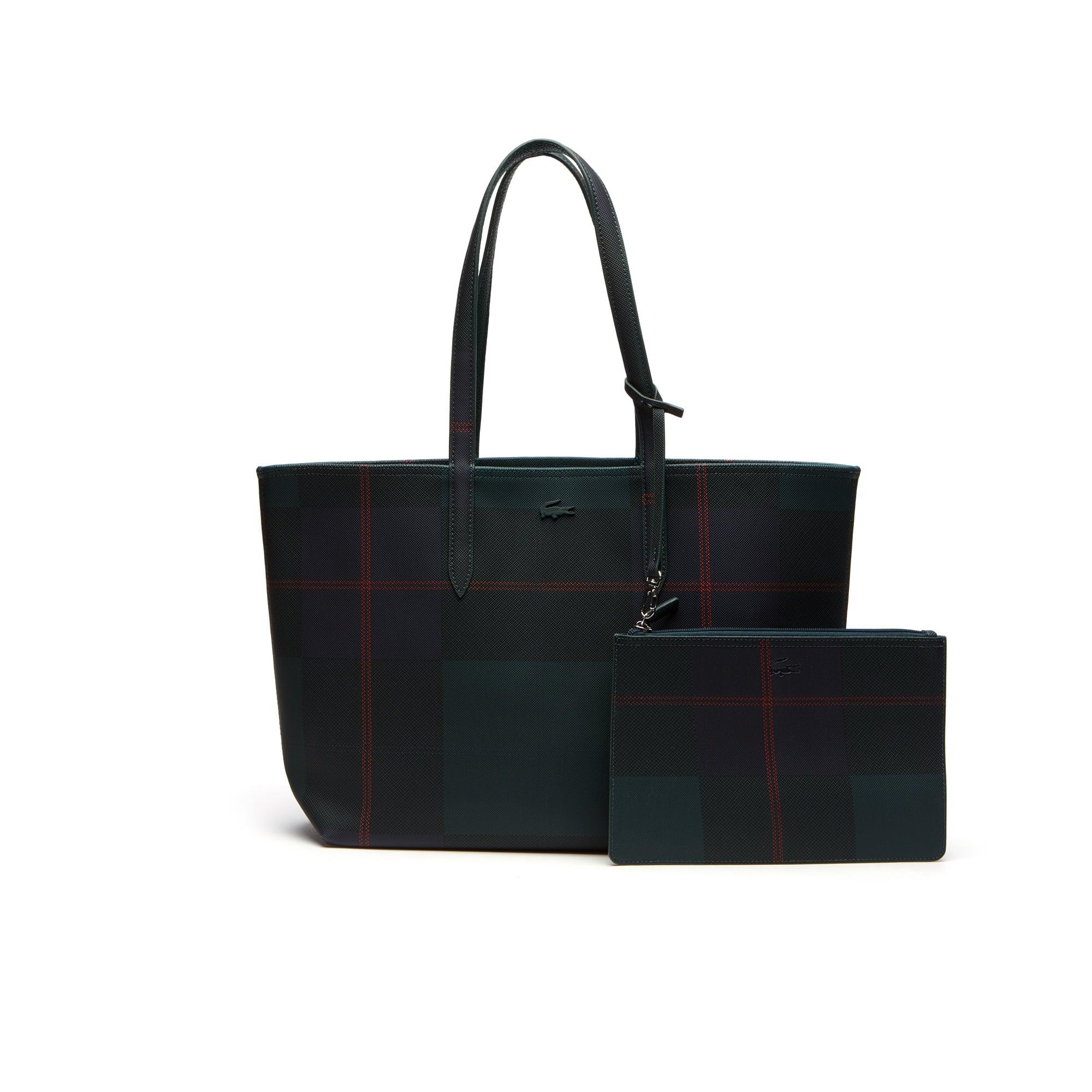 Zweifarbige Damen-Tote-Bag ANNA zum Wenden mit Karo-Print