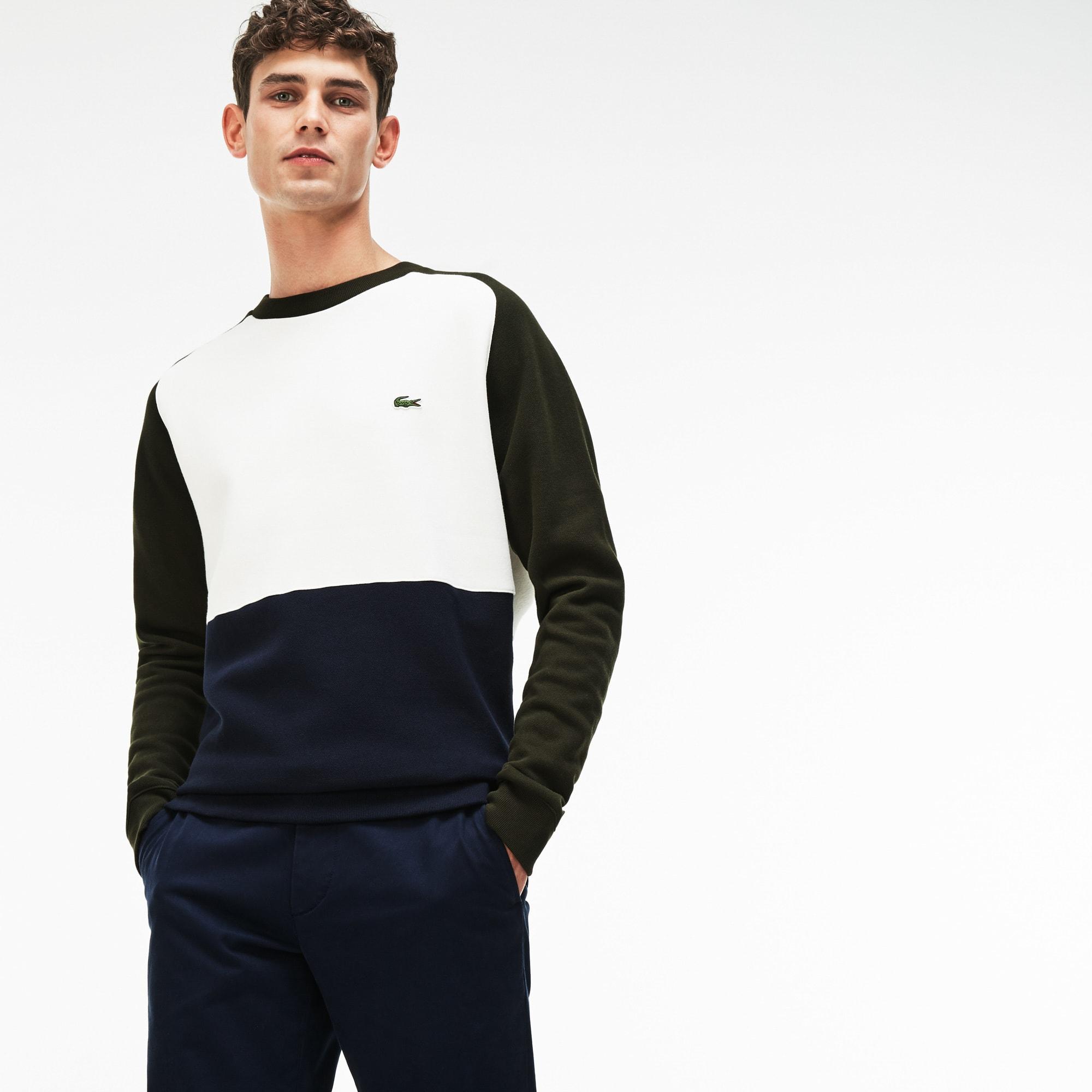 Herren-Sweatshirt aus Baumwoll-Piqué-Fleece im Colorblock-Design