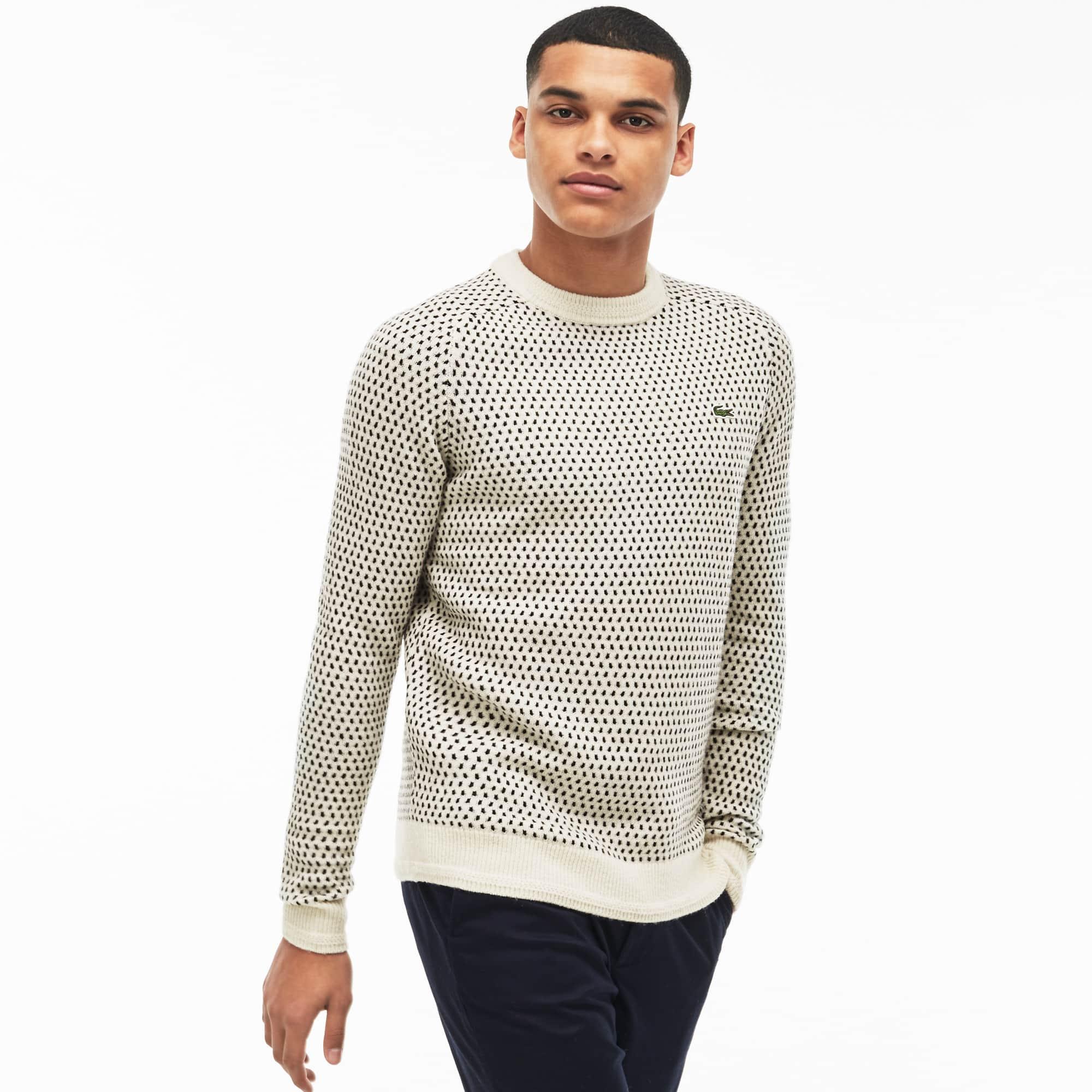 Herren-Rundhalspullover aus Mini-Jacquard mit Wolle LACOSTE L!VE