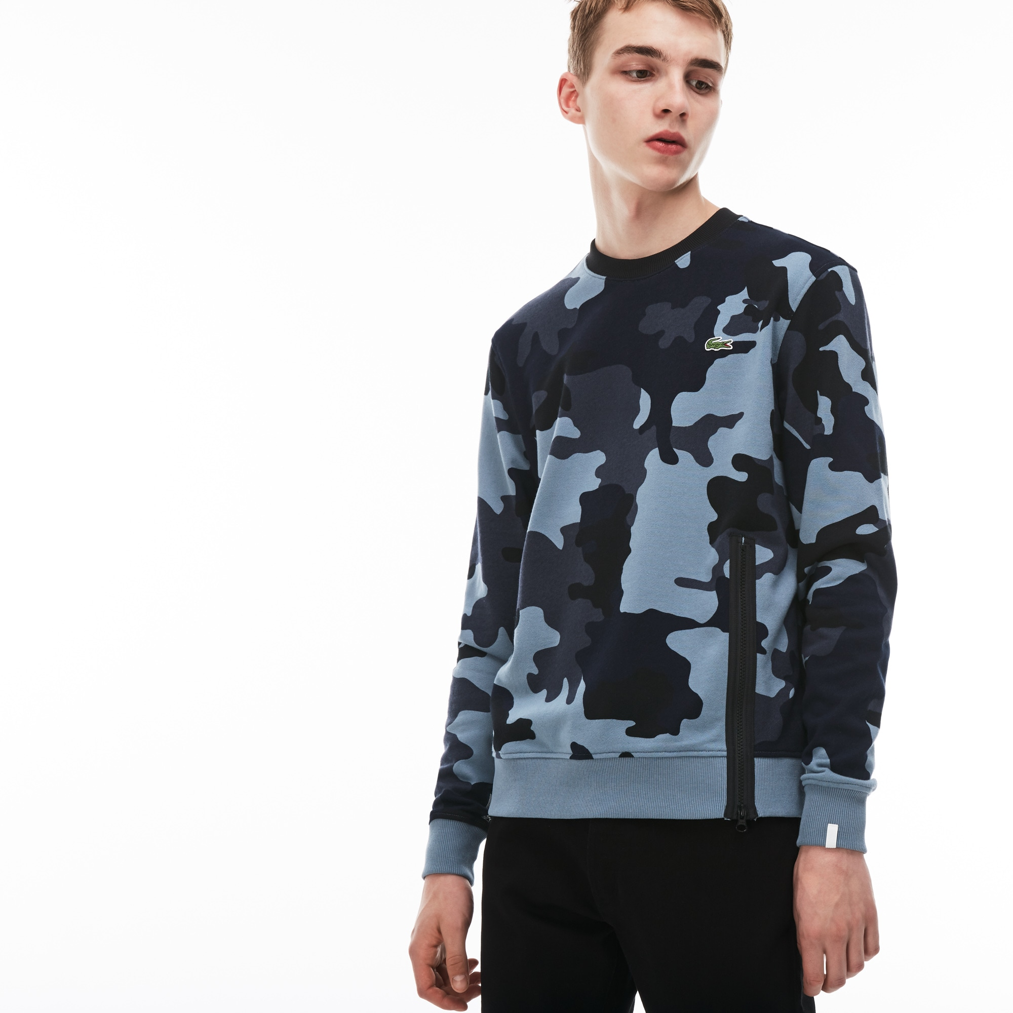 Herren-Sweatshirt aus Fleece mit Tarnmuster-Aufdruck LACOSTE L!VE