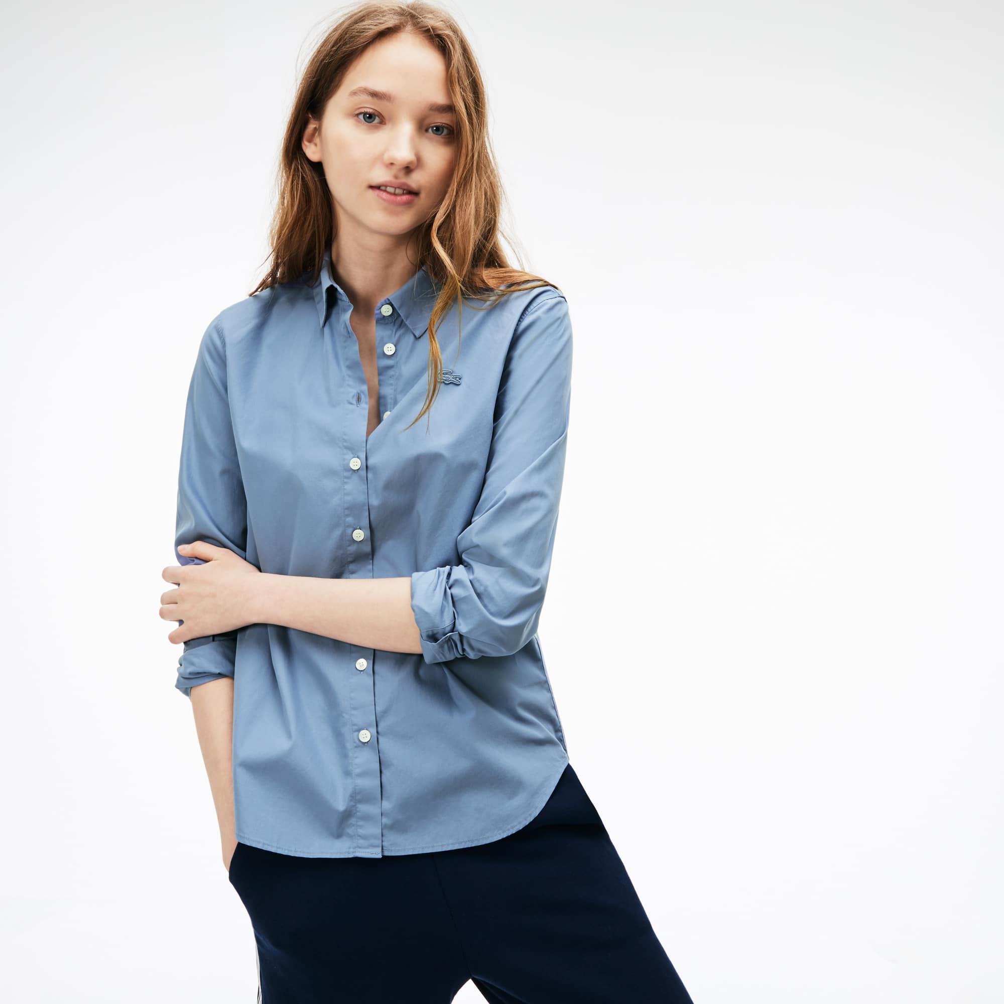 Regular Fit Damen-Bluse aus Baumwoll-Popeline