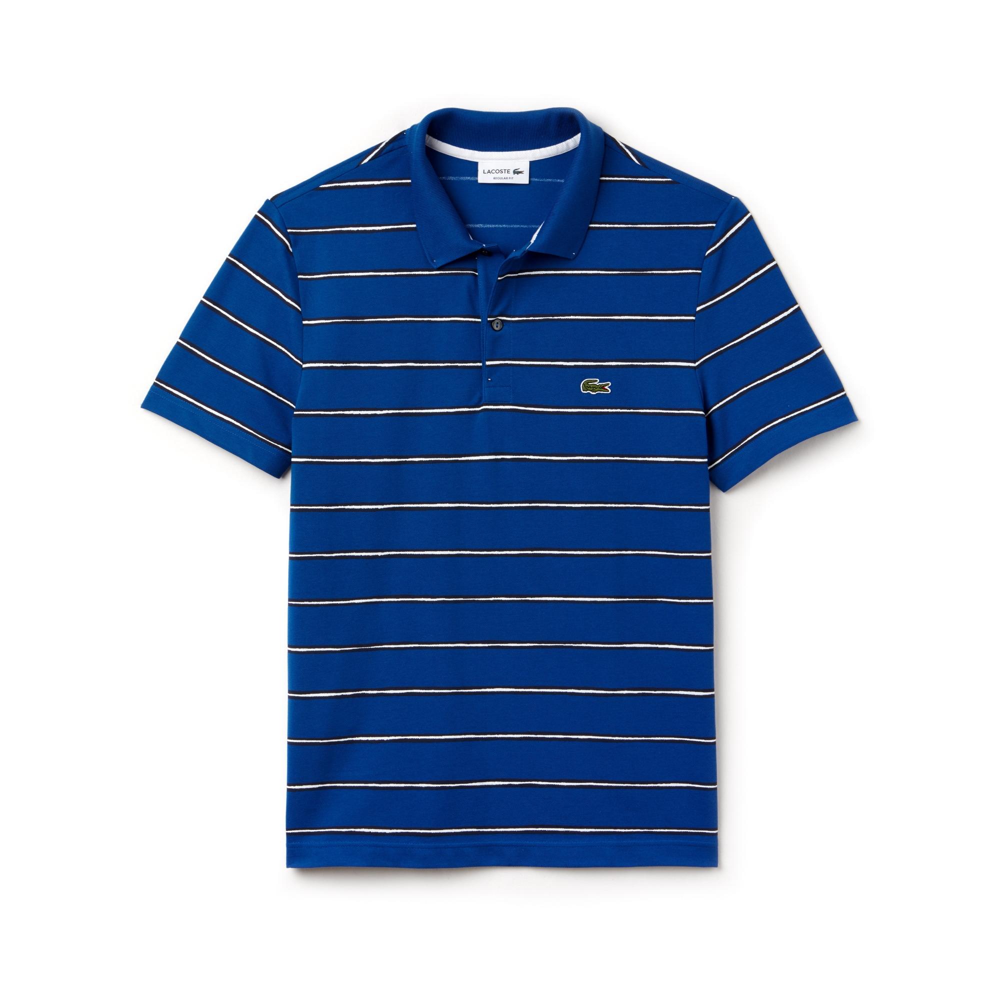 Herren Regular Fit Poloshirt aus Mini Piqué mit Streifendesign