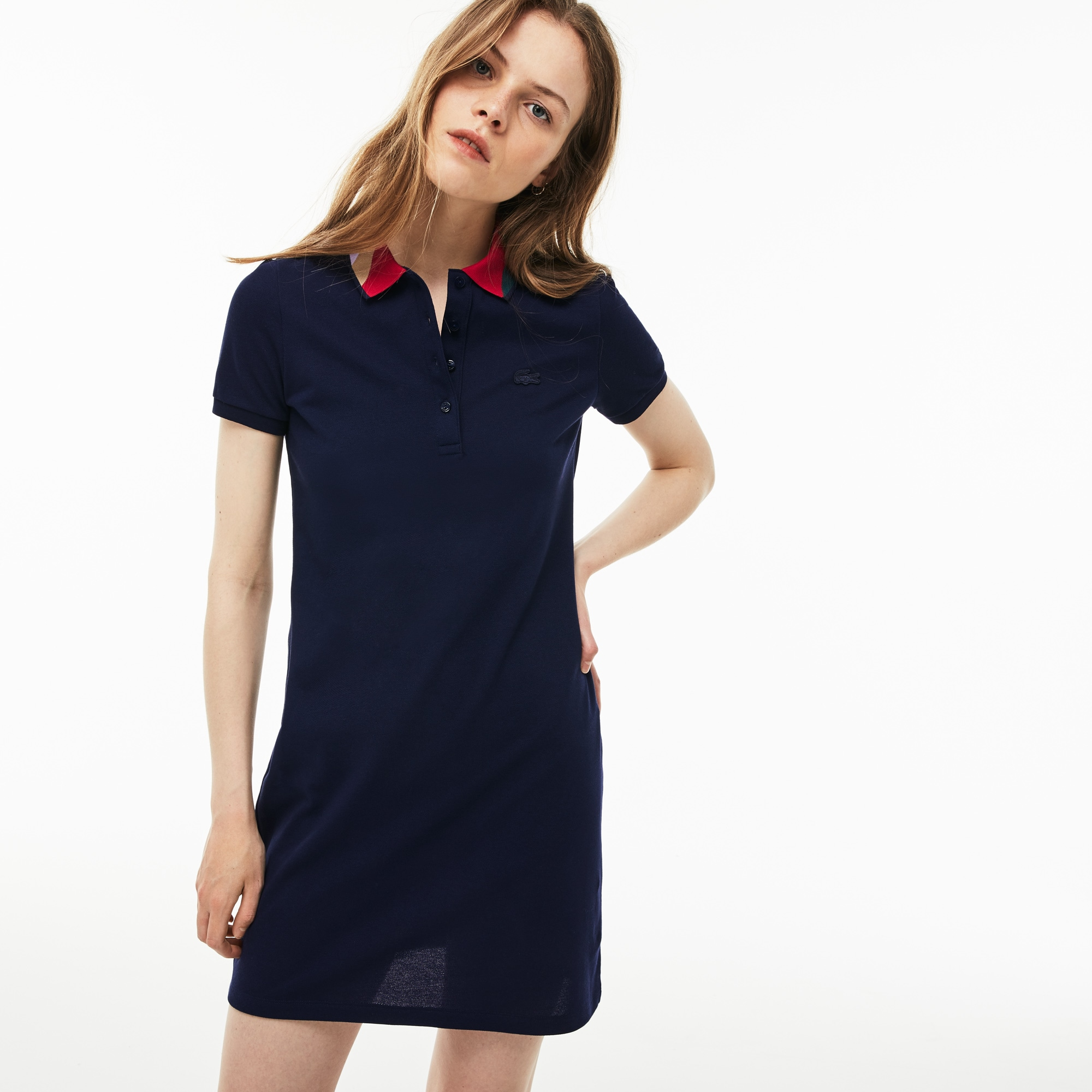 Lacoste - Damen Slim Fit Polokleid aus Mini-Piqué mit Colorblocks - 4