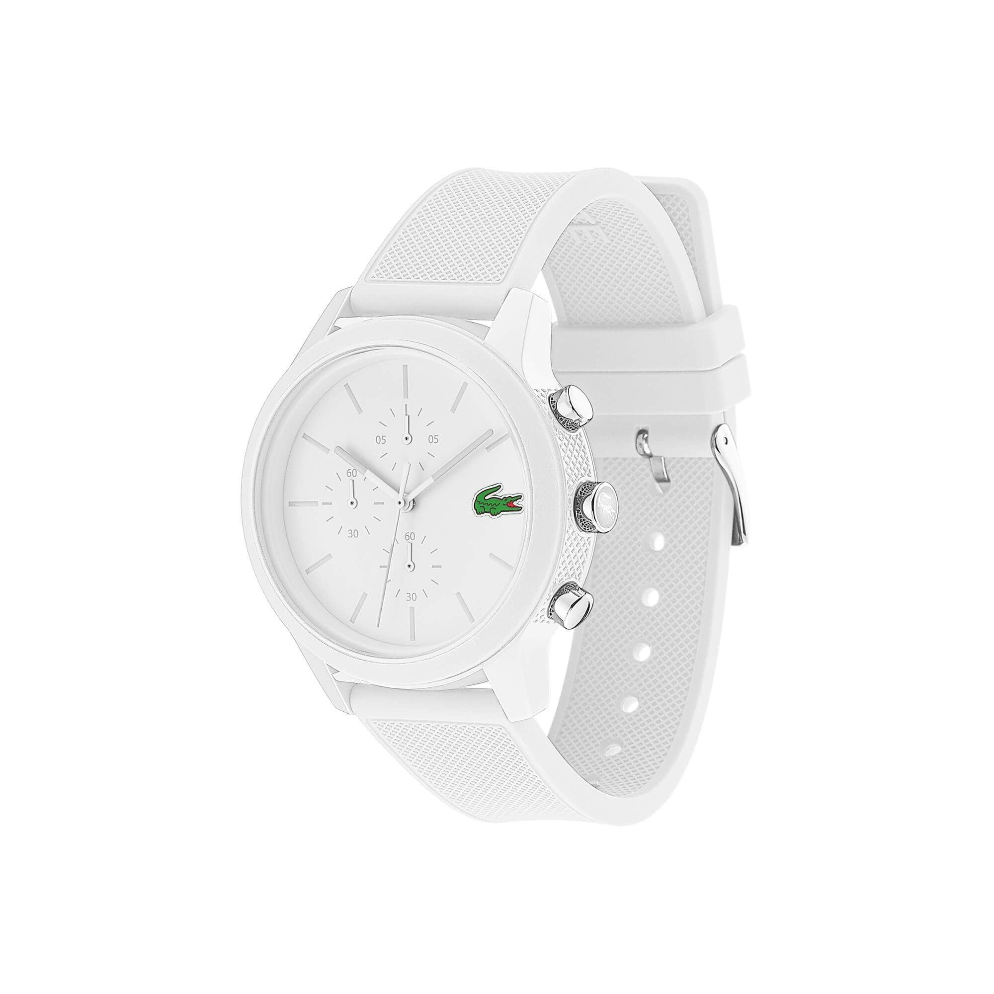 LACOSTE 12.12 Herren-Chronograph mit weißem Silikonband