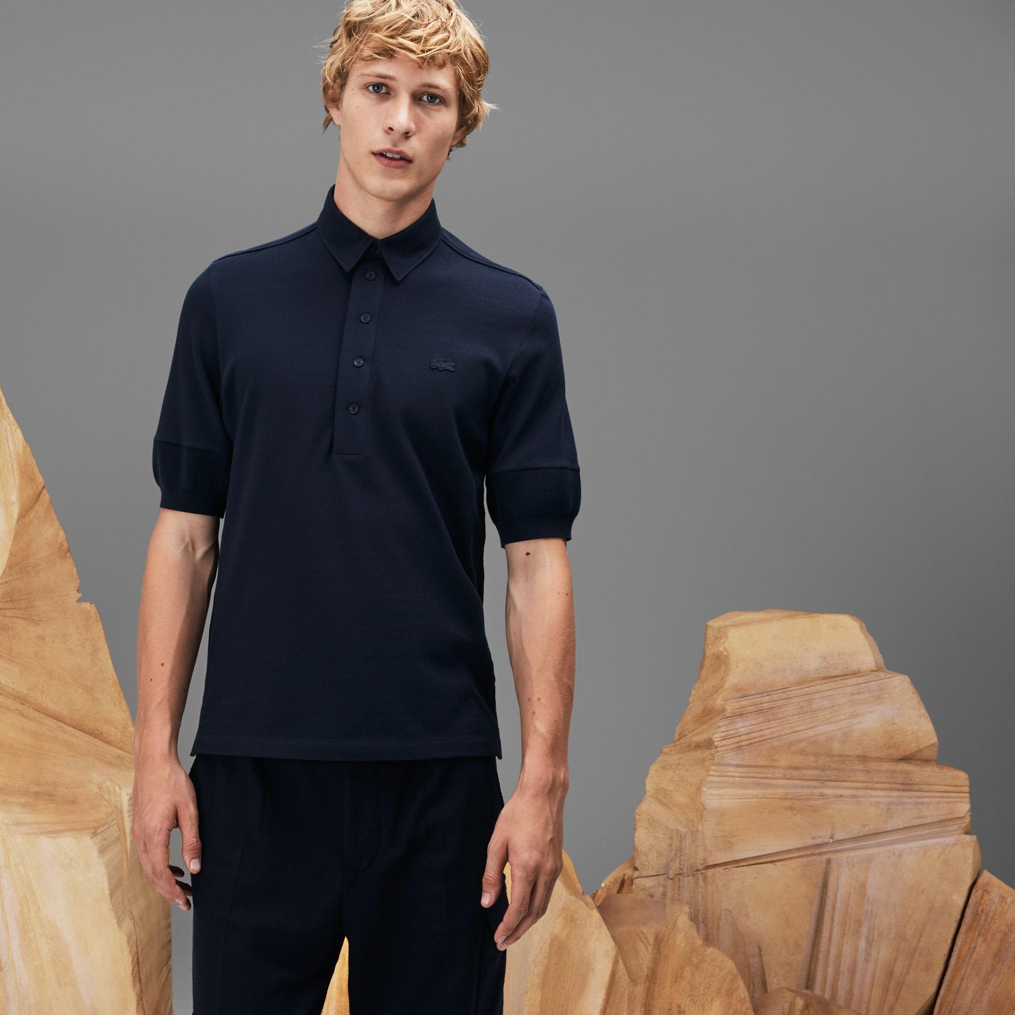 FASHION SHOW Angerautes Poloshirt aus Baumwollpiqué