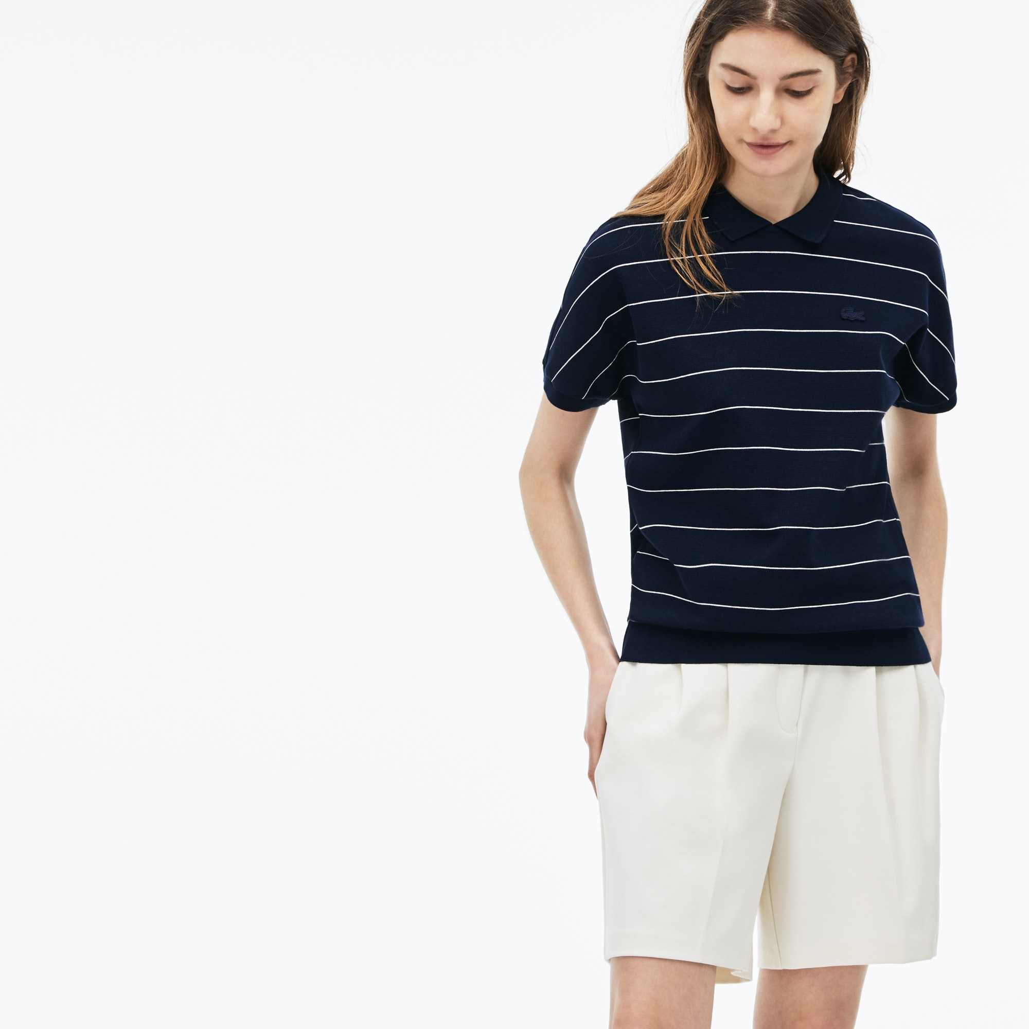 Damen-Poloshirt aus fein gestreifter Baumwolle mit Wabenstruktur