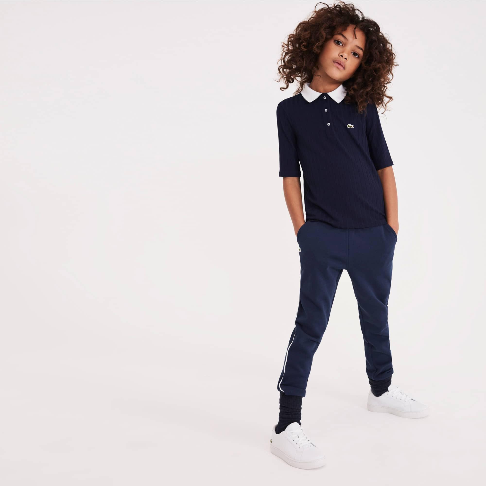 Mädchen LACOSTE Strick-Poloshirt mit Kontrastkragen