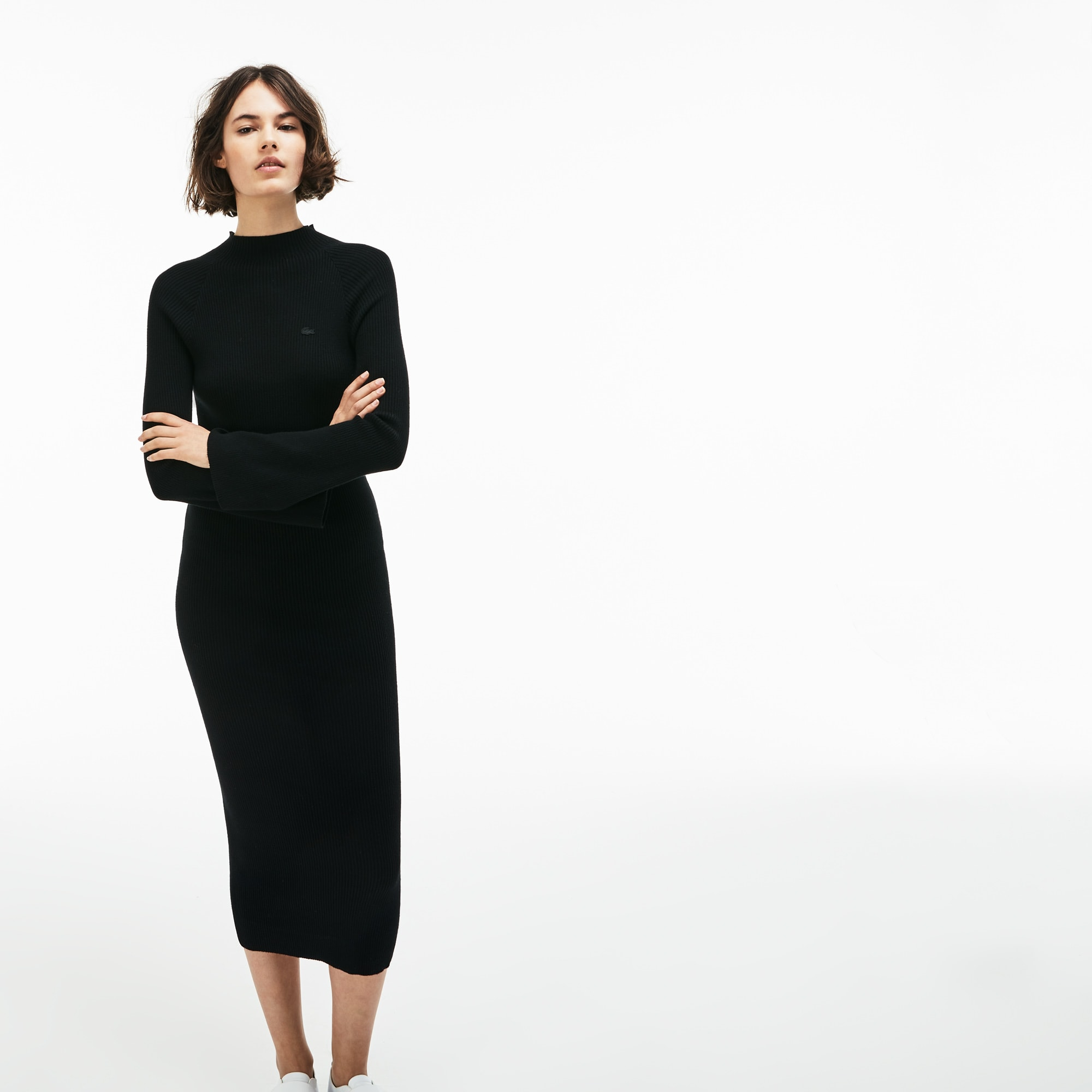 Damen LACOSTE L!VE Kleid aus gerippter Baumwolle und Cashmere