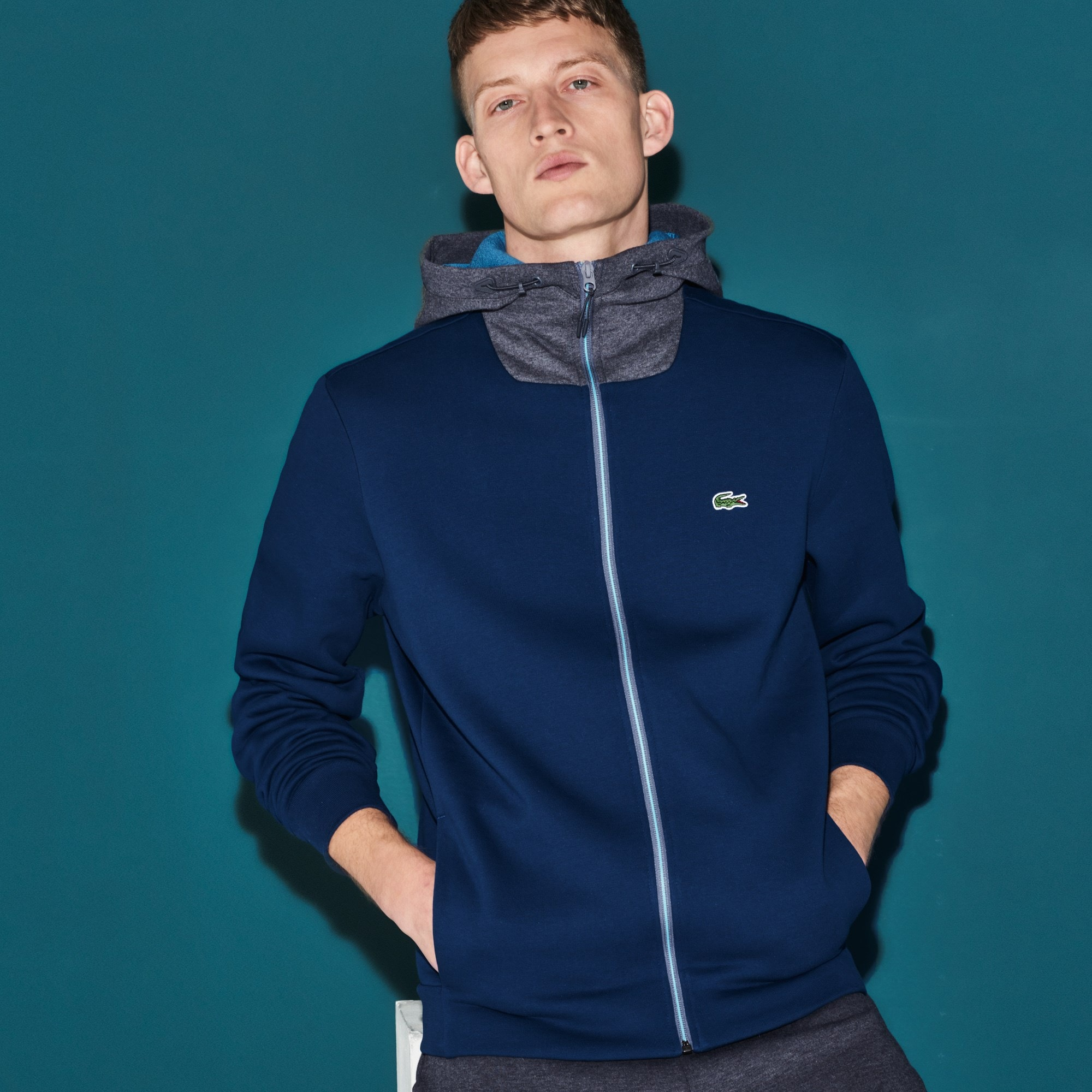 Herren LACOSTE SPORT zweifarbiges Tennis Sweatshirt aus Fleece