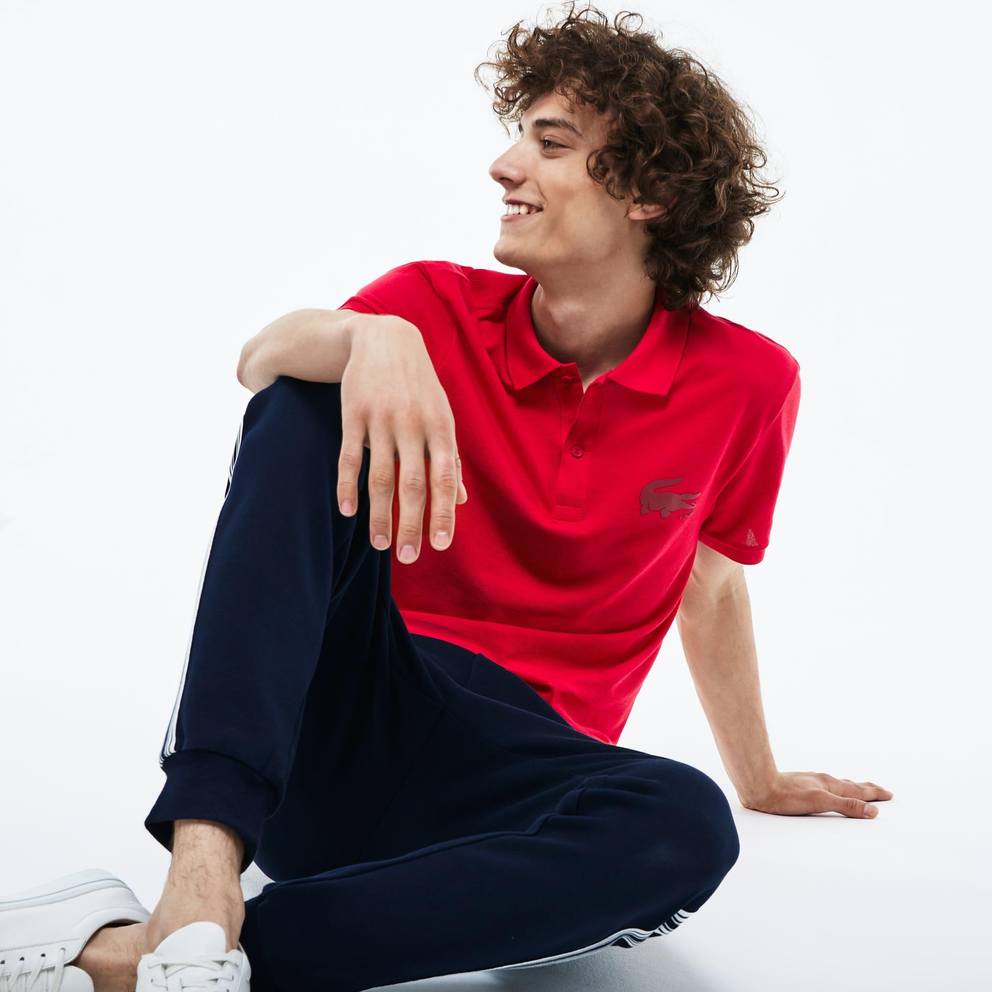 Slim Fit Herren-Polo aus Petit Piqué mit Krokodillogo