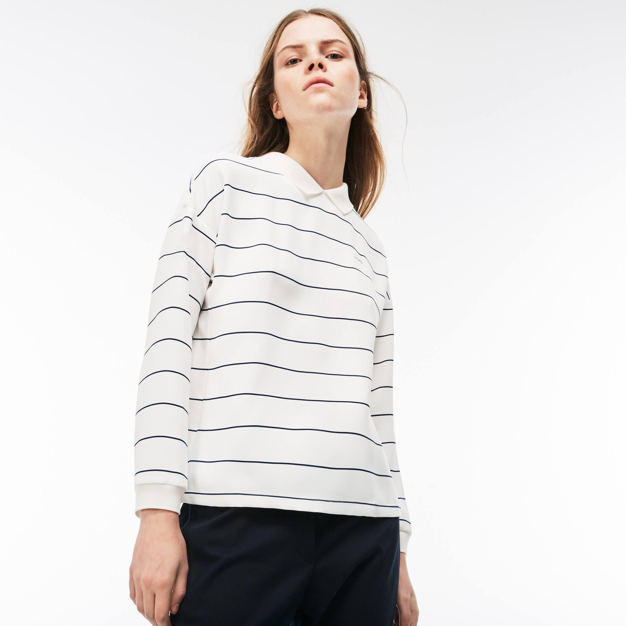 Damen-Bluse aus gestreiftem Krepp mit Polokragen und Rückendetail