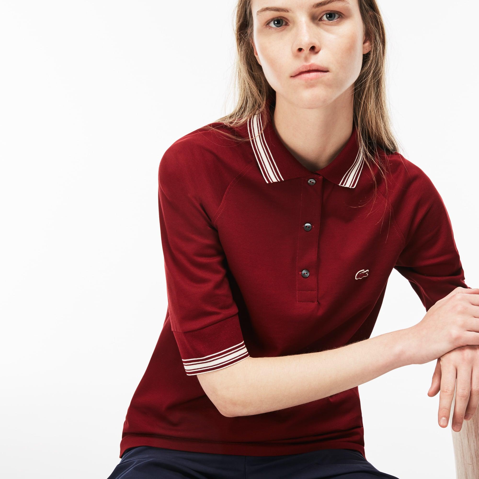 LACOSTE Damen-Poloshirt aus Piqué mit Paspeln