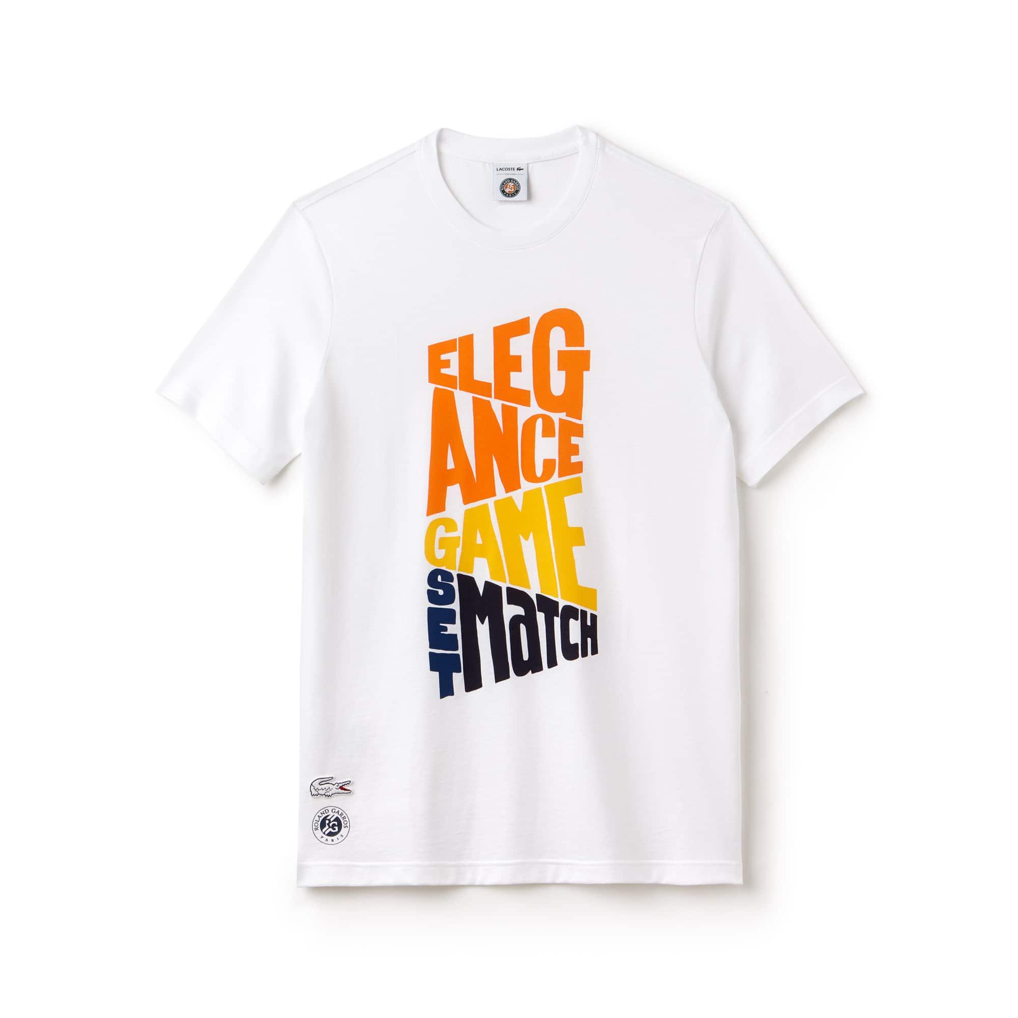 Herren LACOSTE SPORT Roland Garros Design-Baumwoll-T-Shirt