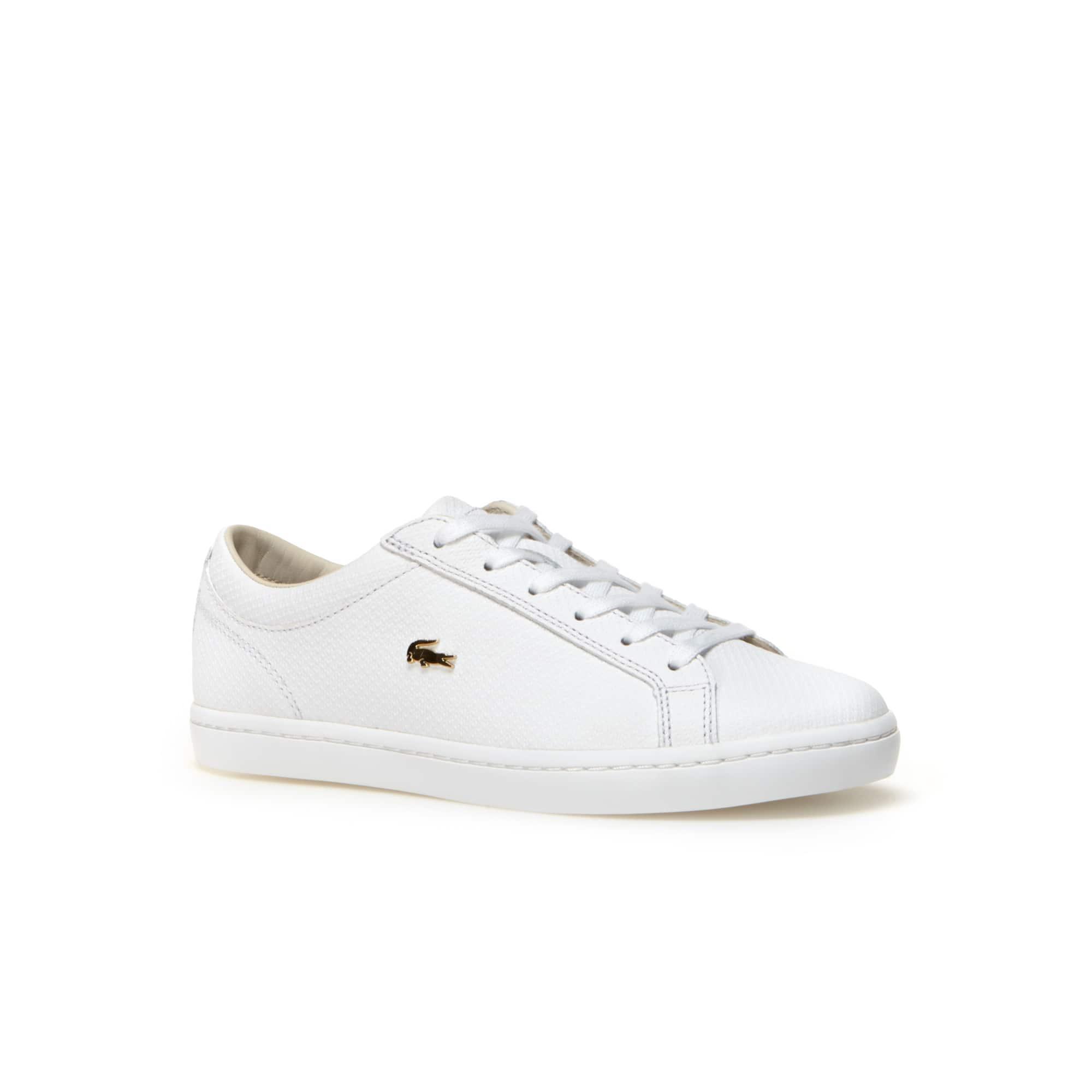 2e210e247cb1bc Damen-Sneaker aus Leder mit goldfarbenem Krokodil STRAIGHTSET