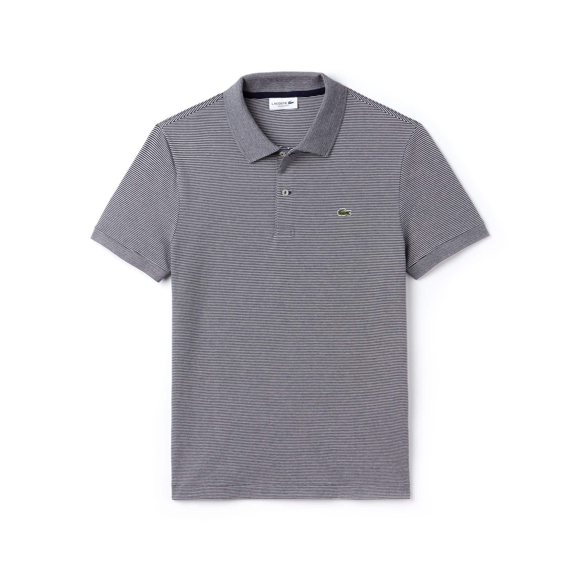 Regular Fit Herren-Poloshirt aus gestreiftem Mini-Piqué LACOSTE