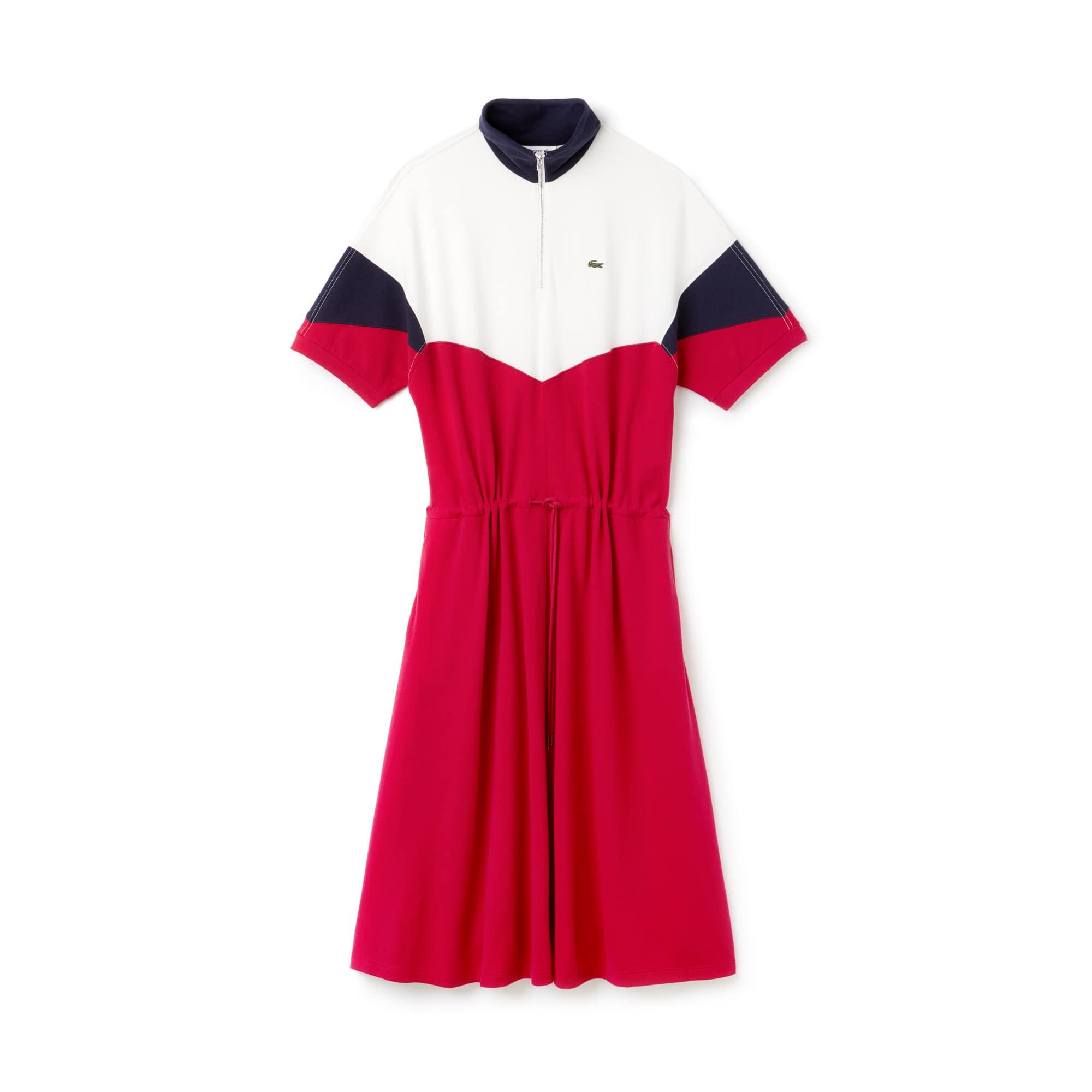 Damen-Polokleid aus Frottee-Piqué mit Colorblocks
