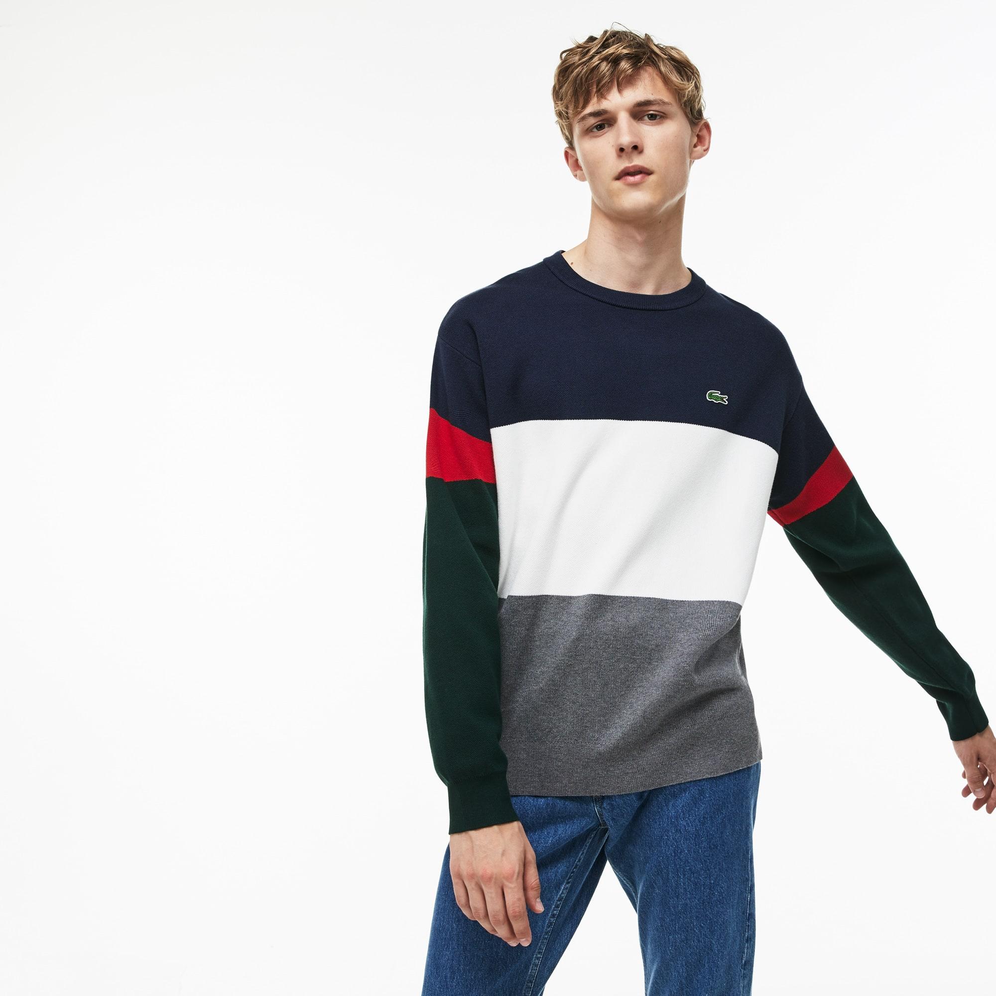 Herren-Rundhalspullover aus gerippter Baumwolle mit Colorblocks