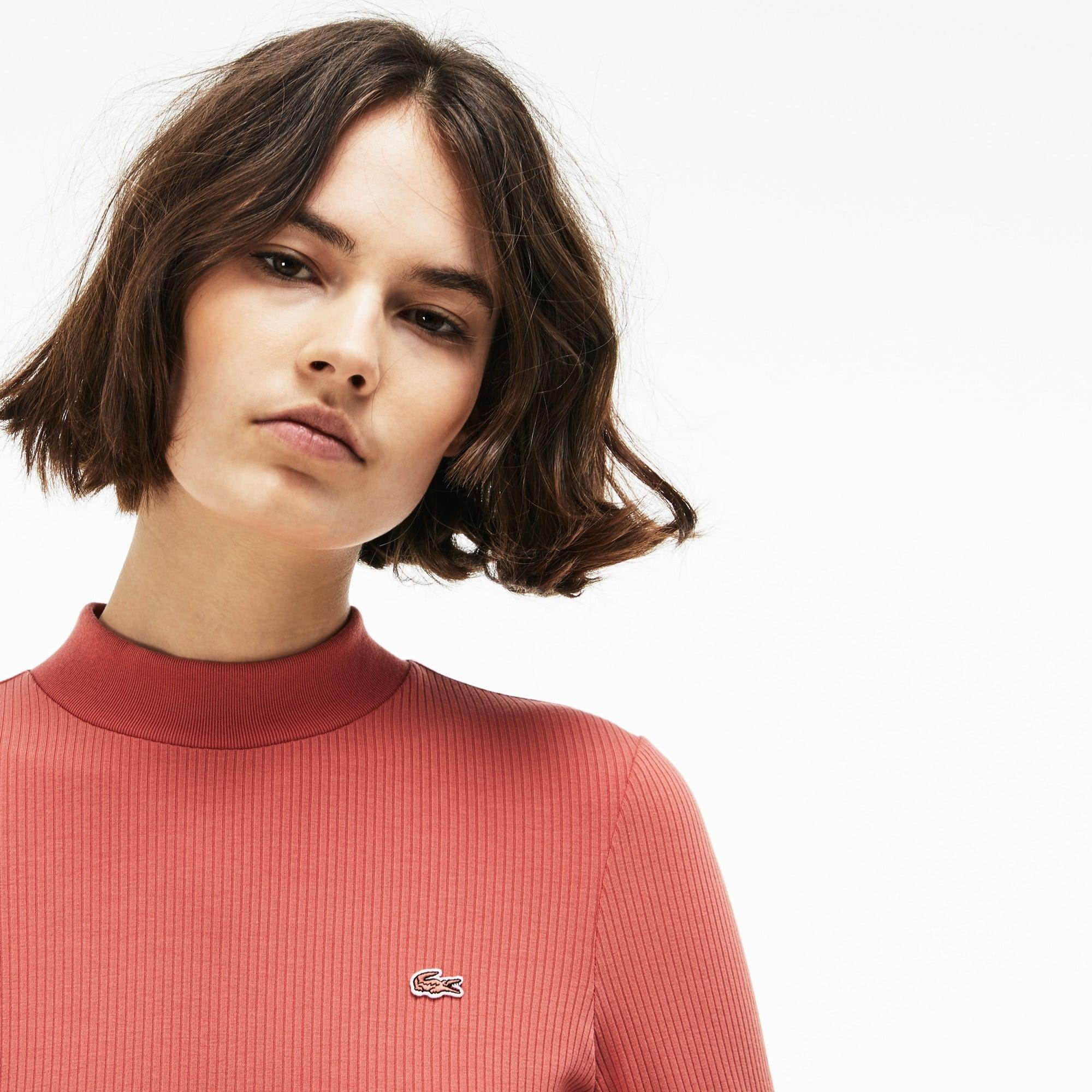 Damen-T-Shirt aus gerippter Baumwolle mit Stehkragen LACOSTE L!VE