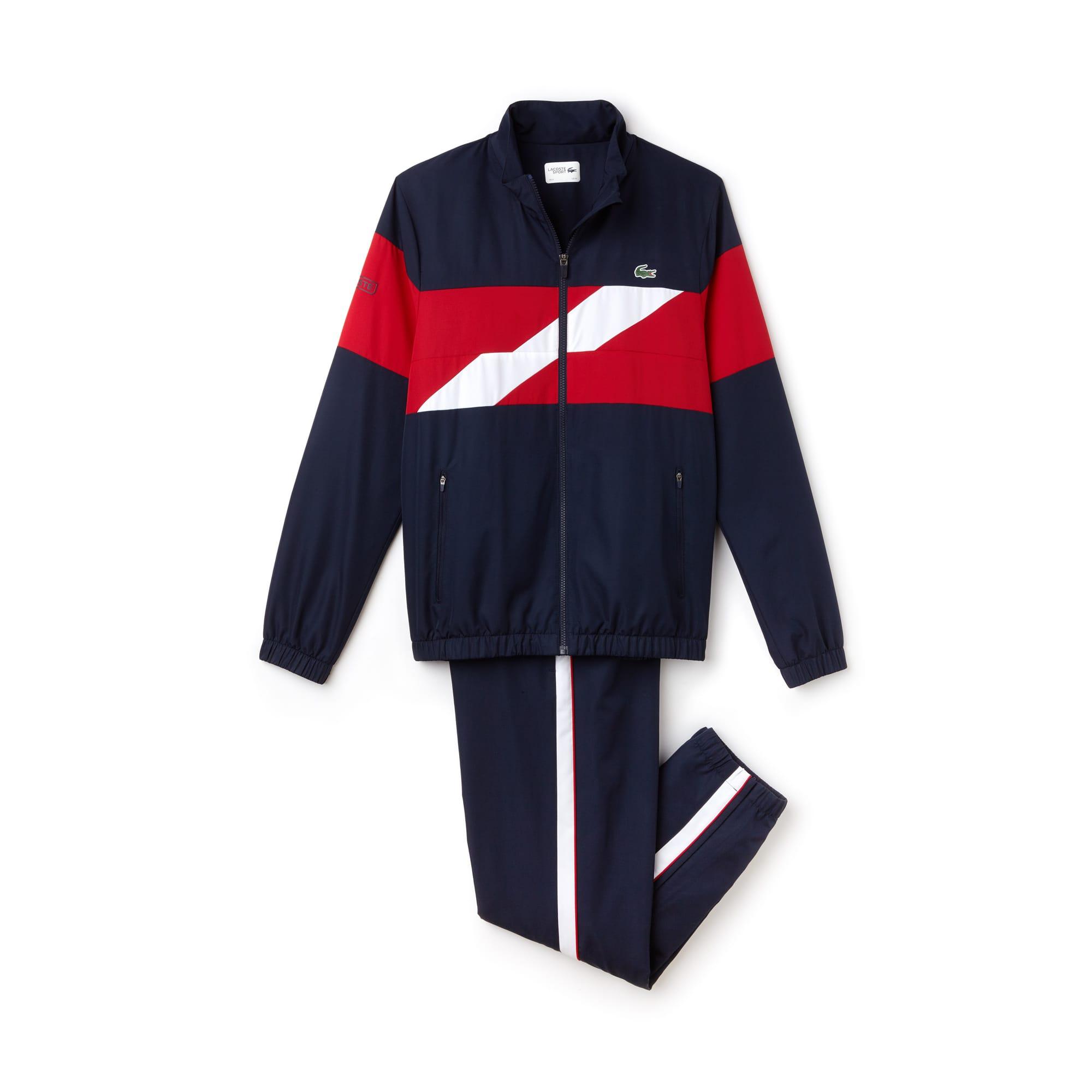 Herren LACOSTE SPORT Taft Trainingsanzug mit farbigen Streifen