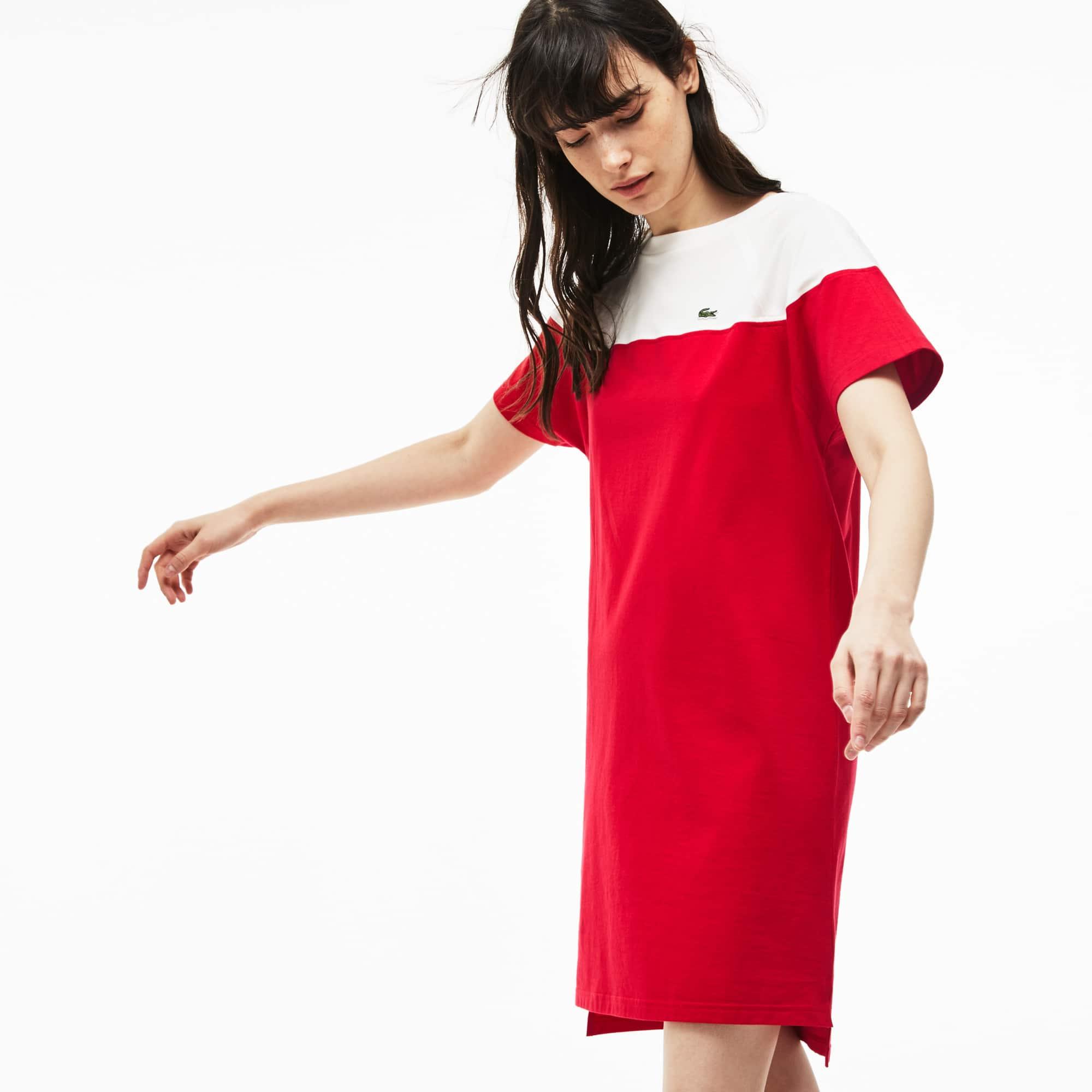 Damen-T-Shirt-Kleid aus Baumwolljersey mit U-Boot-Ausschnitt   LACOSTE