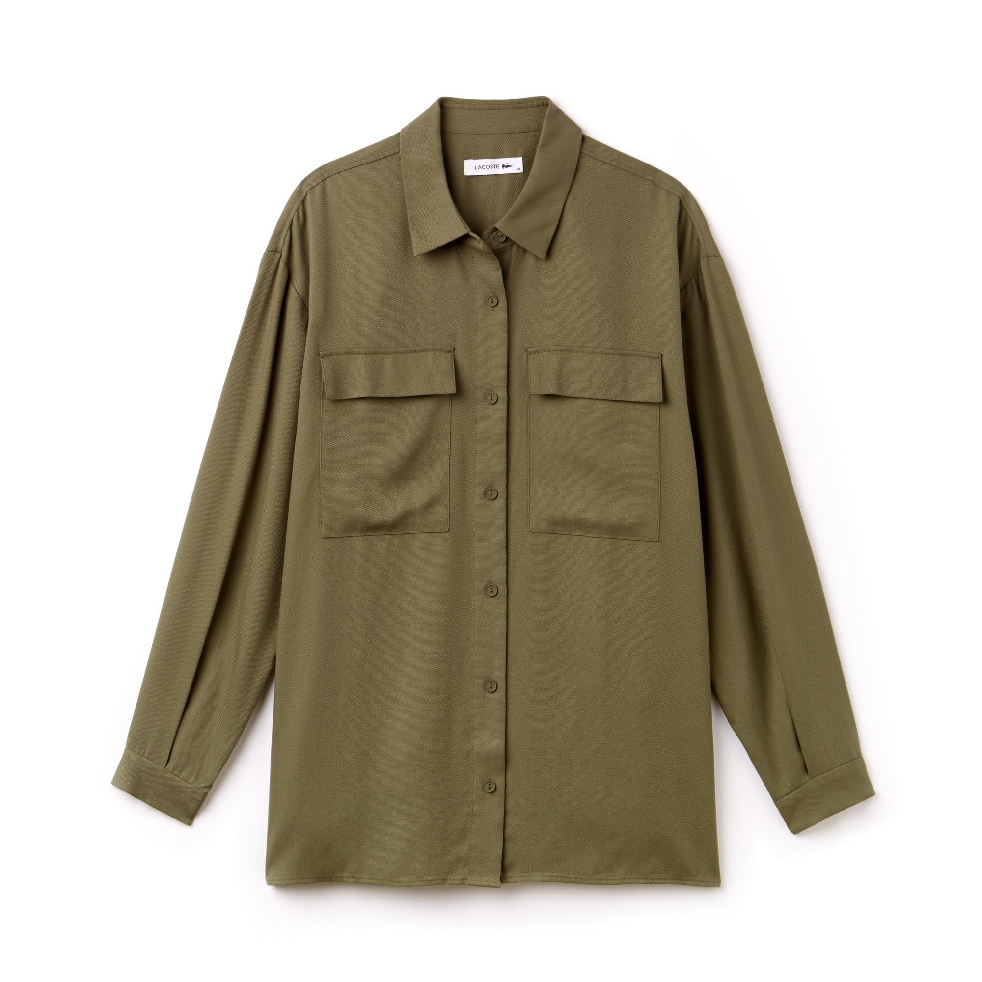 Lockere Damen-Bluse aus fließendem Piqué