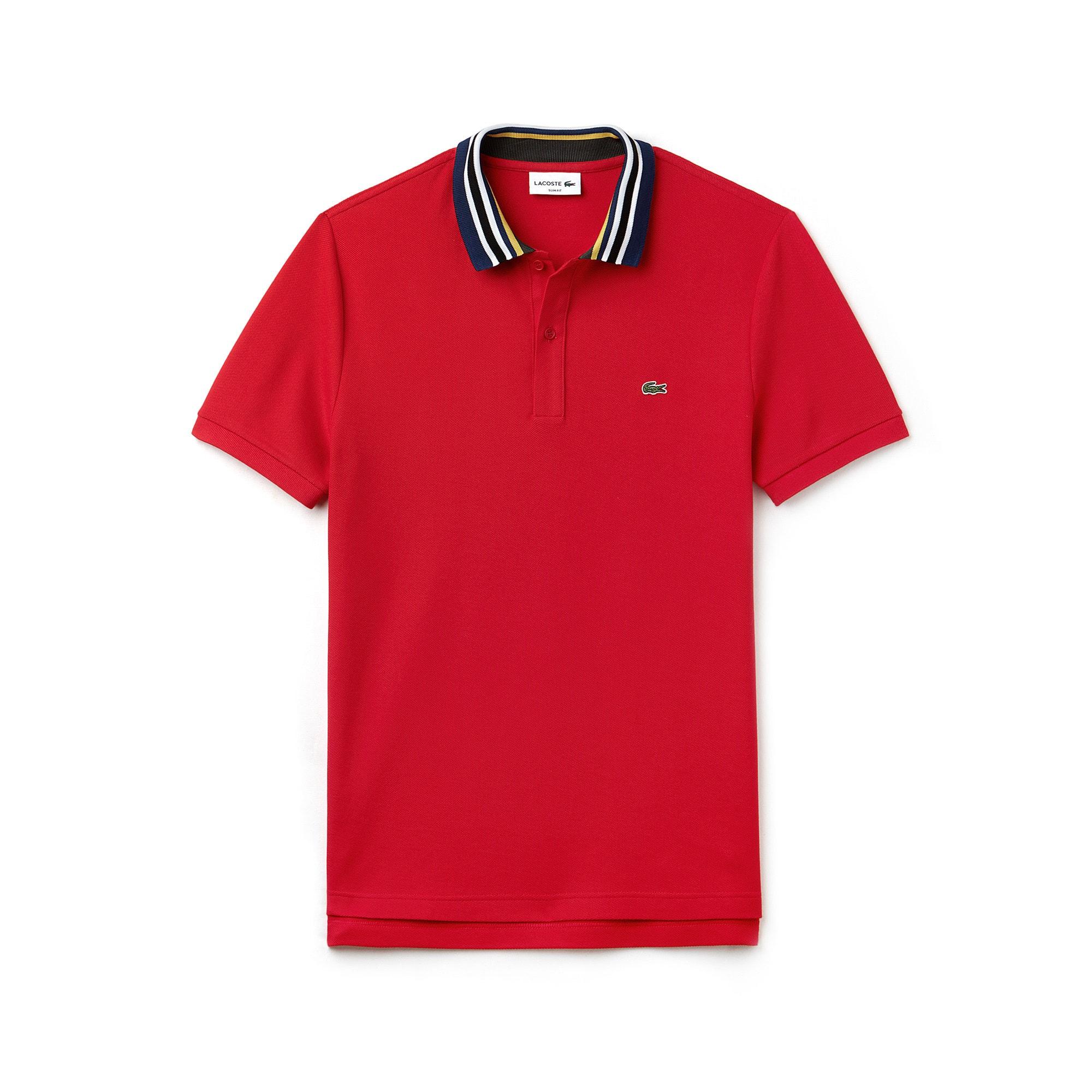 LACOSTE Slim Fit Herren-Poloshirt aus Baumwoll-Piqué mit Paspeln