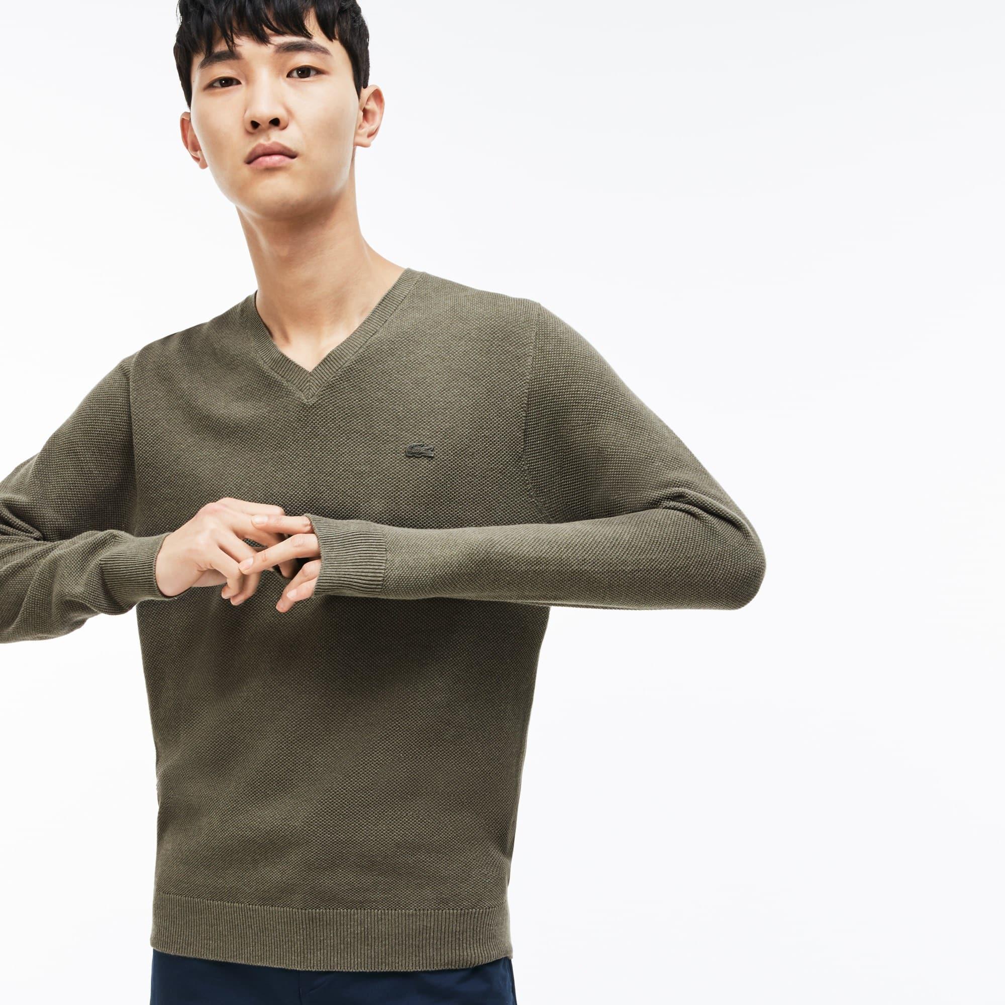 Herren-Pullover aus Baumwoll-Piqué mit V-Ausschnitt