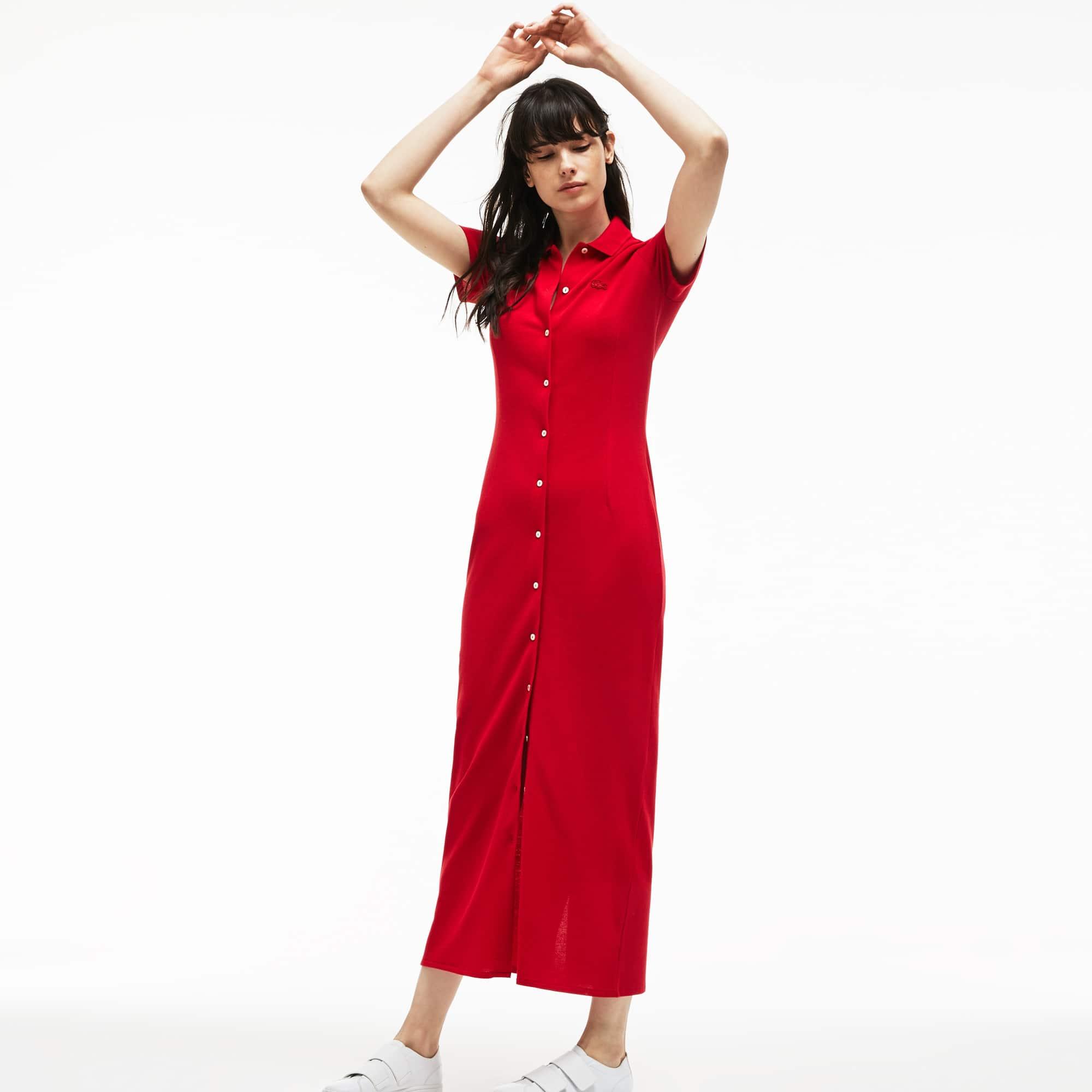 Langes Damen-Polokleid aus schwerem Piqué mit Knöpfen