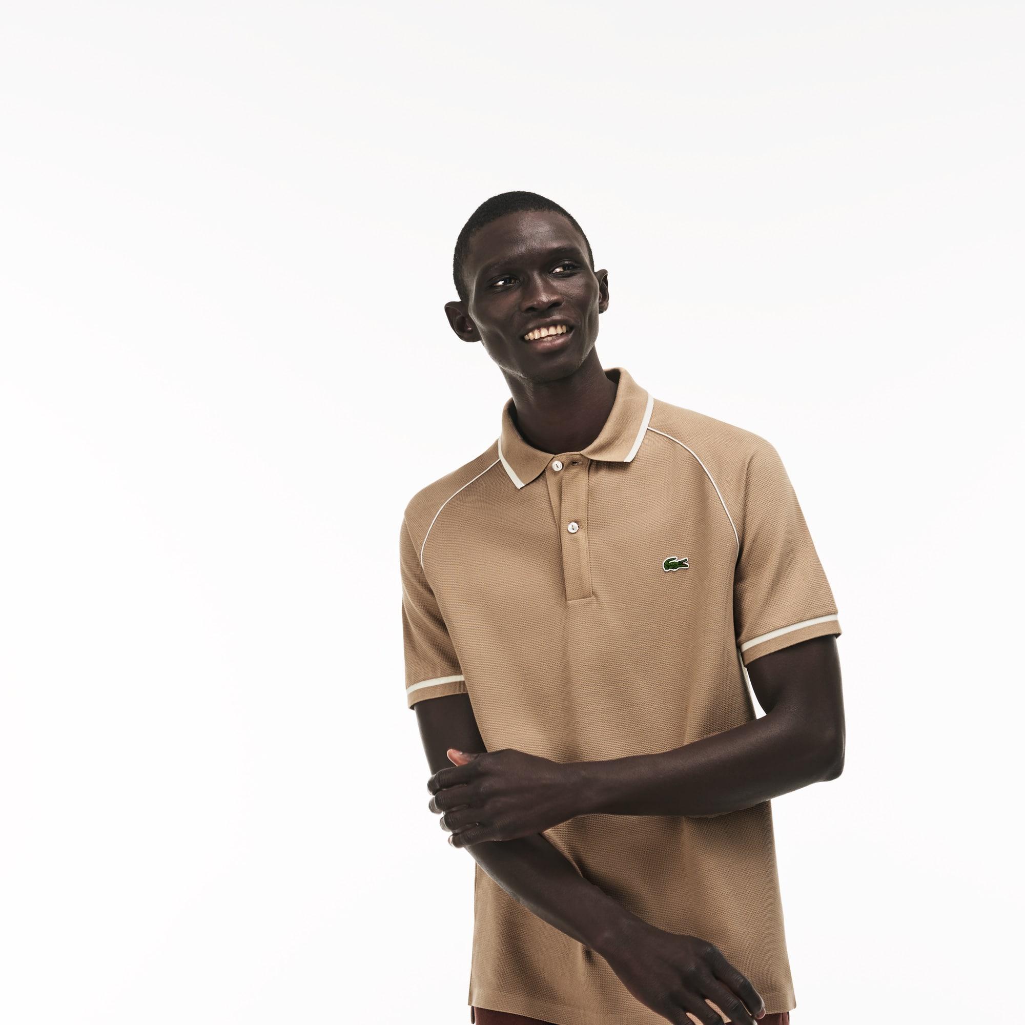 Classic Fit Herren-Poloshirt aus Strickware mit Paspeln