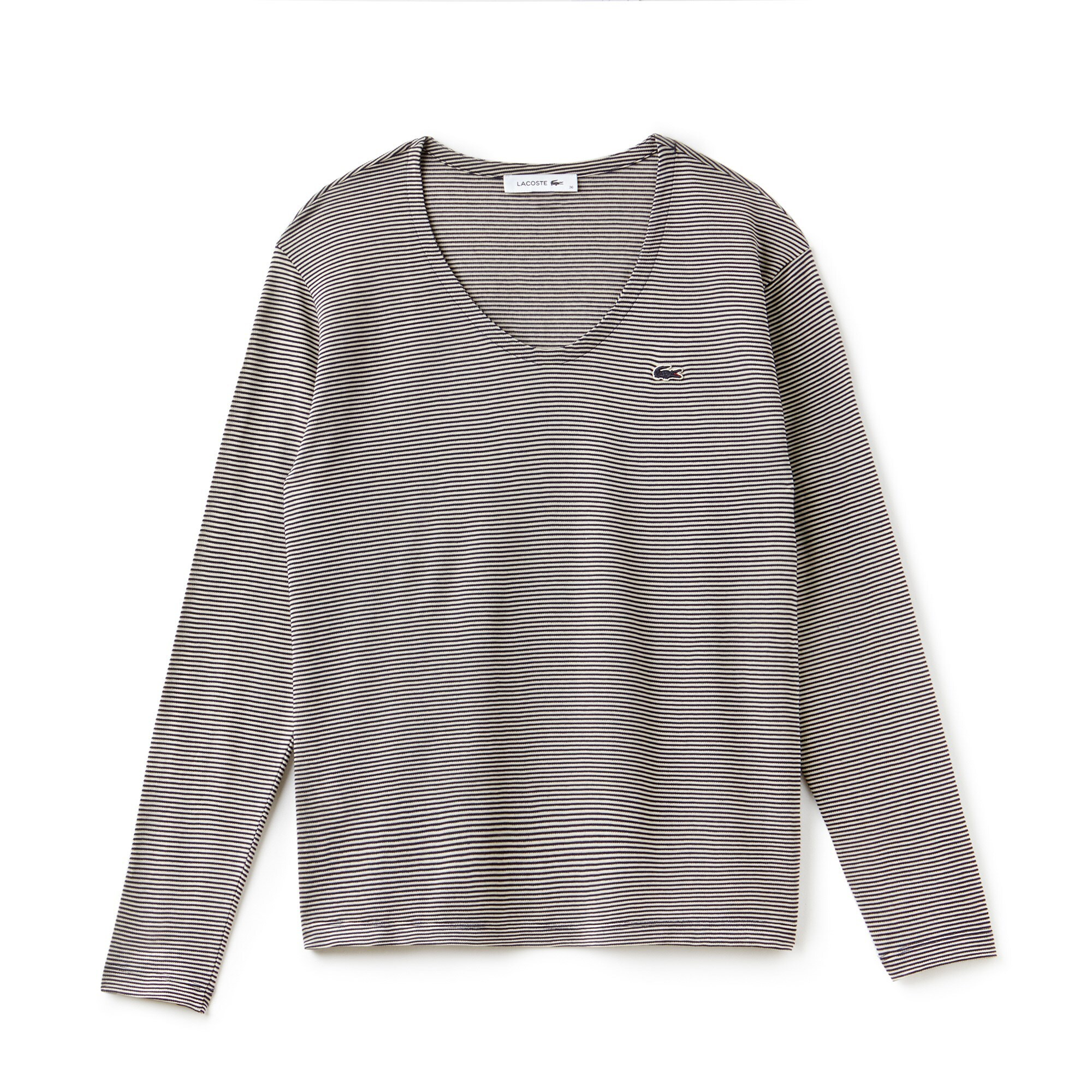 Damen-T-Shirt aus Ottoman-Jersey mit Nadelstreifen
