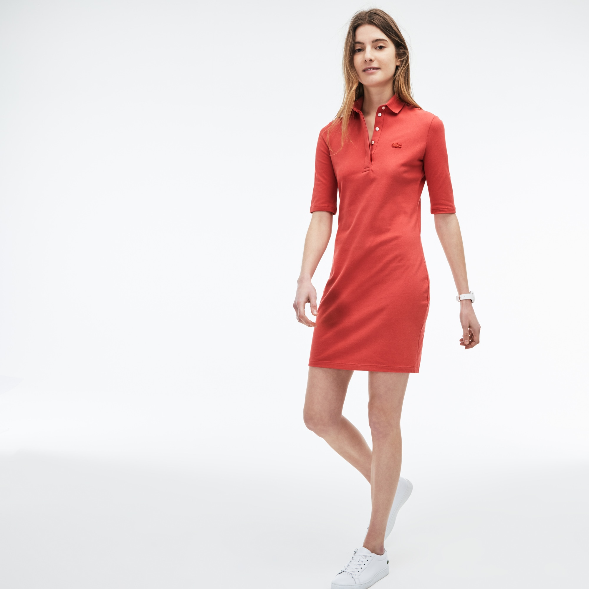 Slim Fit Damen-Polokleid aus Mini-Piqué mit Stretch