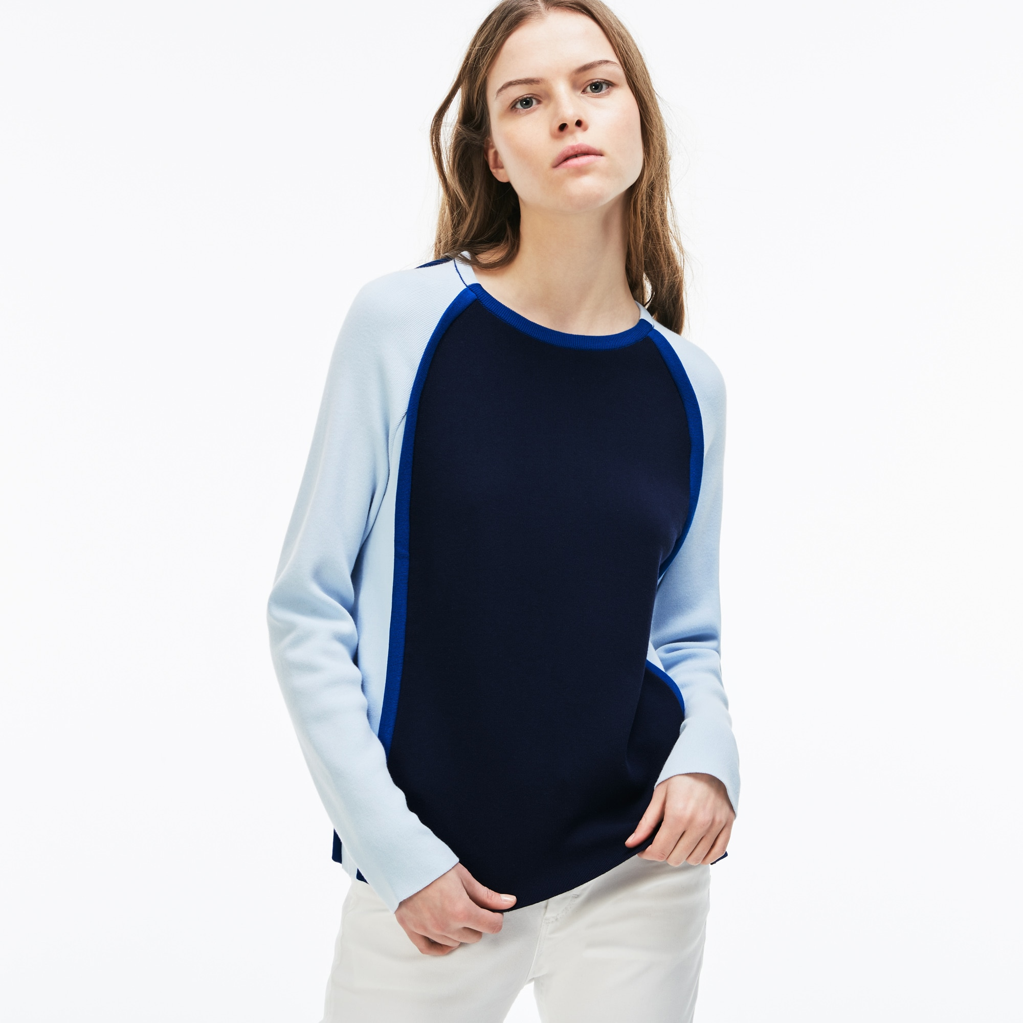 Damen Made in France Rundhals Interlock-Pullover mit Colorblocks