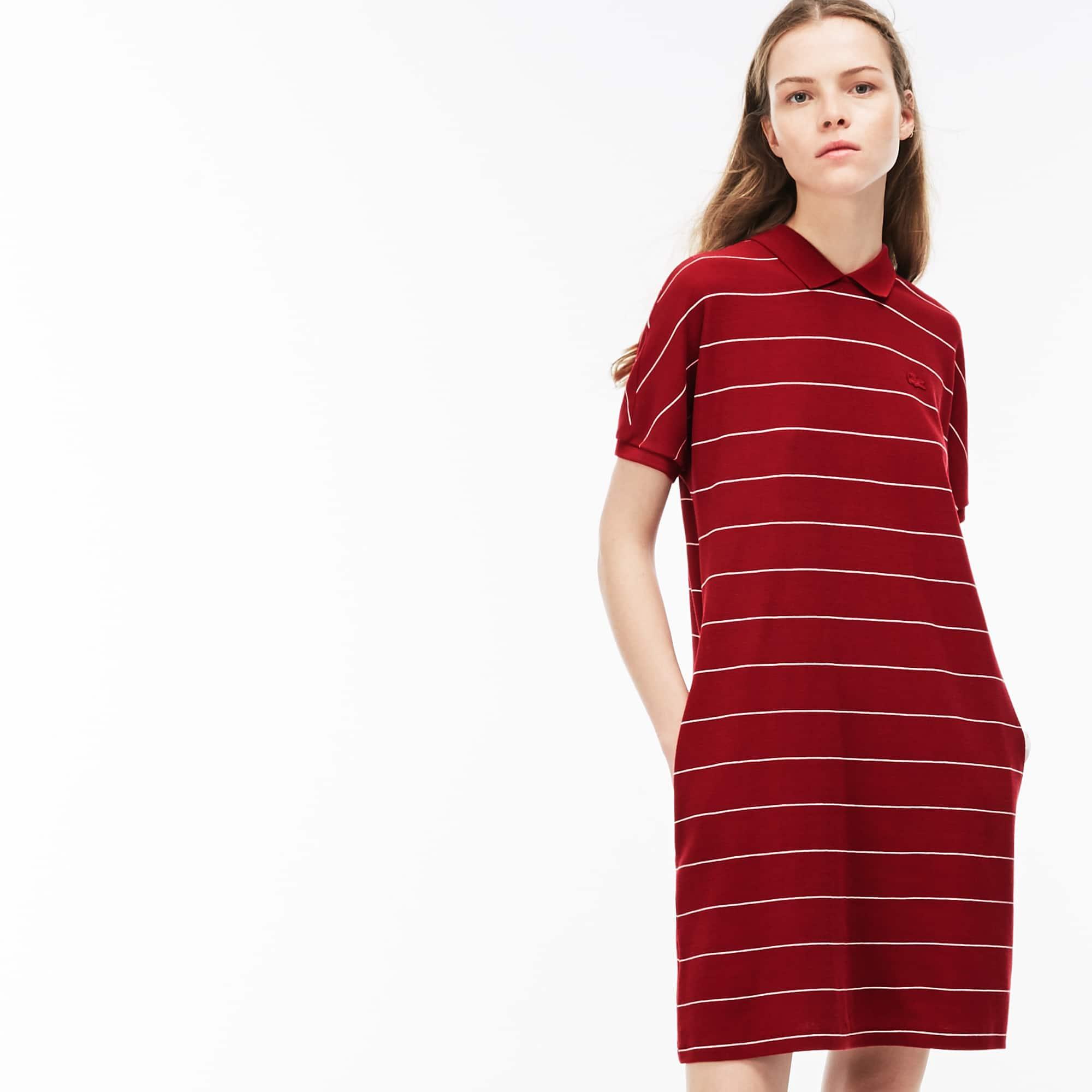 Damen-Polokleid aus gestreifter Baumwolle mit Wabenstruktur