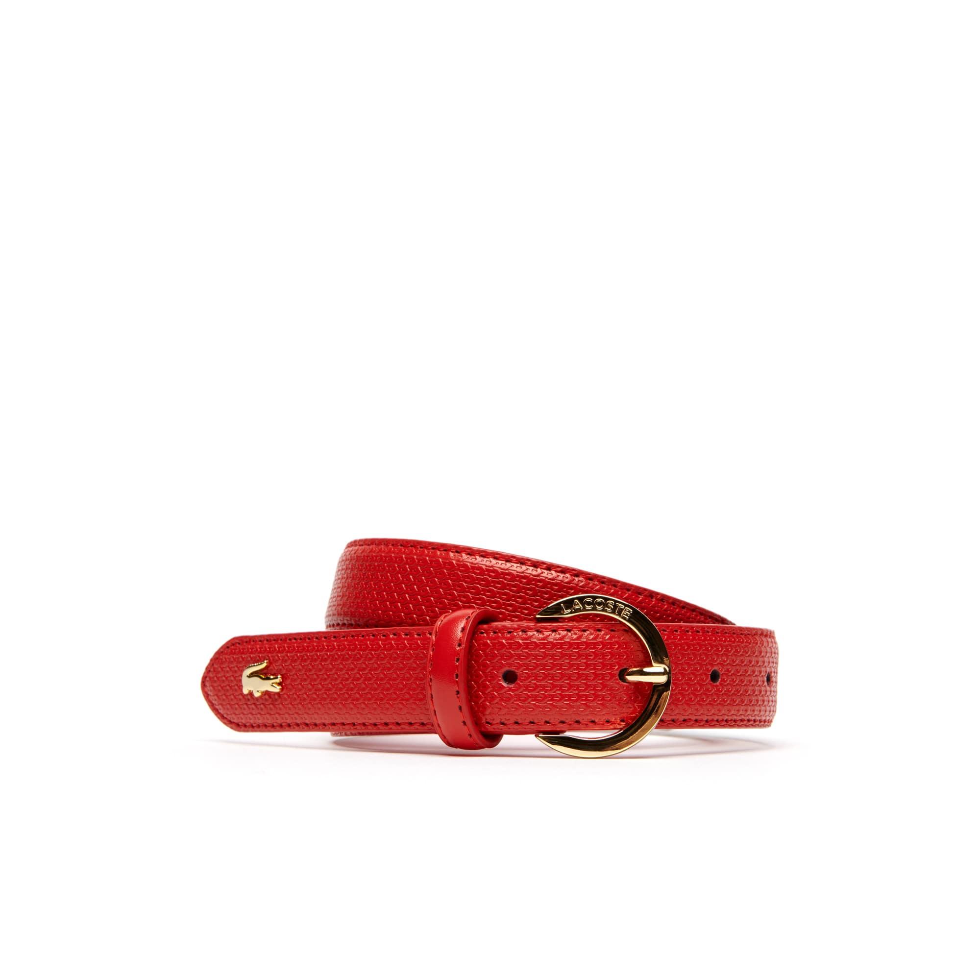 Chantaco Ledergürtel mit feinem Piqué-Druckmuster und goldfarbener Schnalle