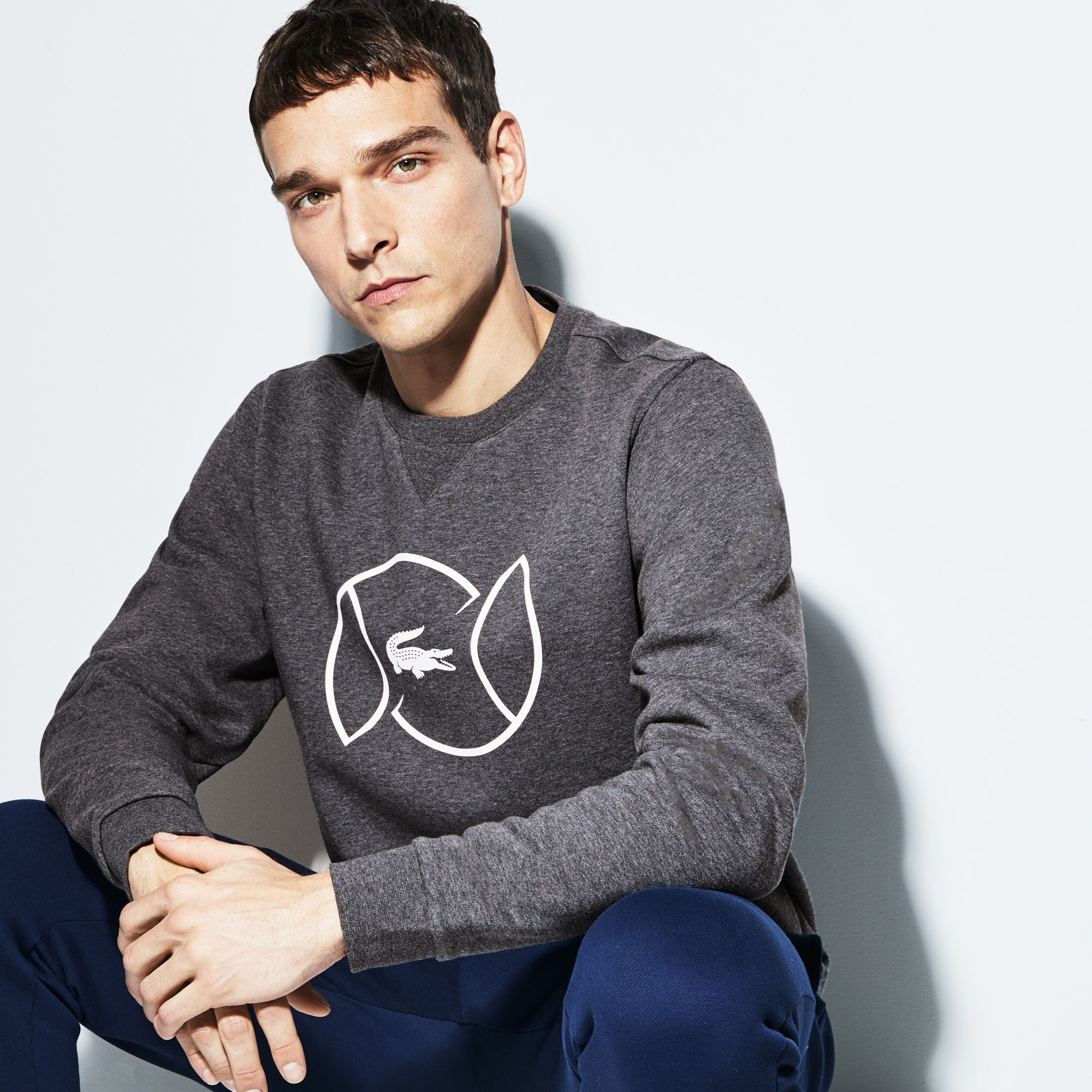Herren LACOSTE SPORT Fleece Tennis-Sweatshirt mit Schriftzug