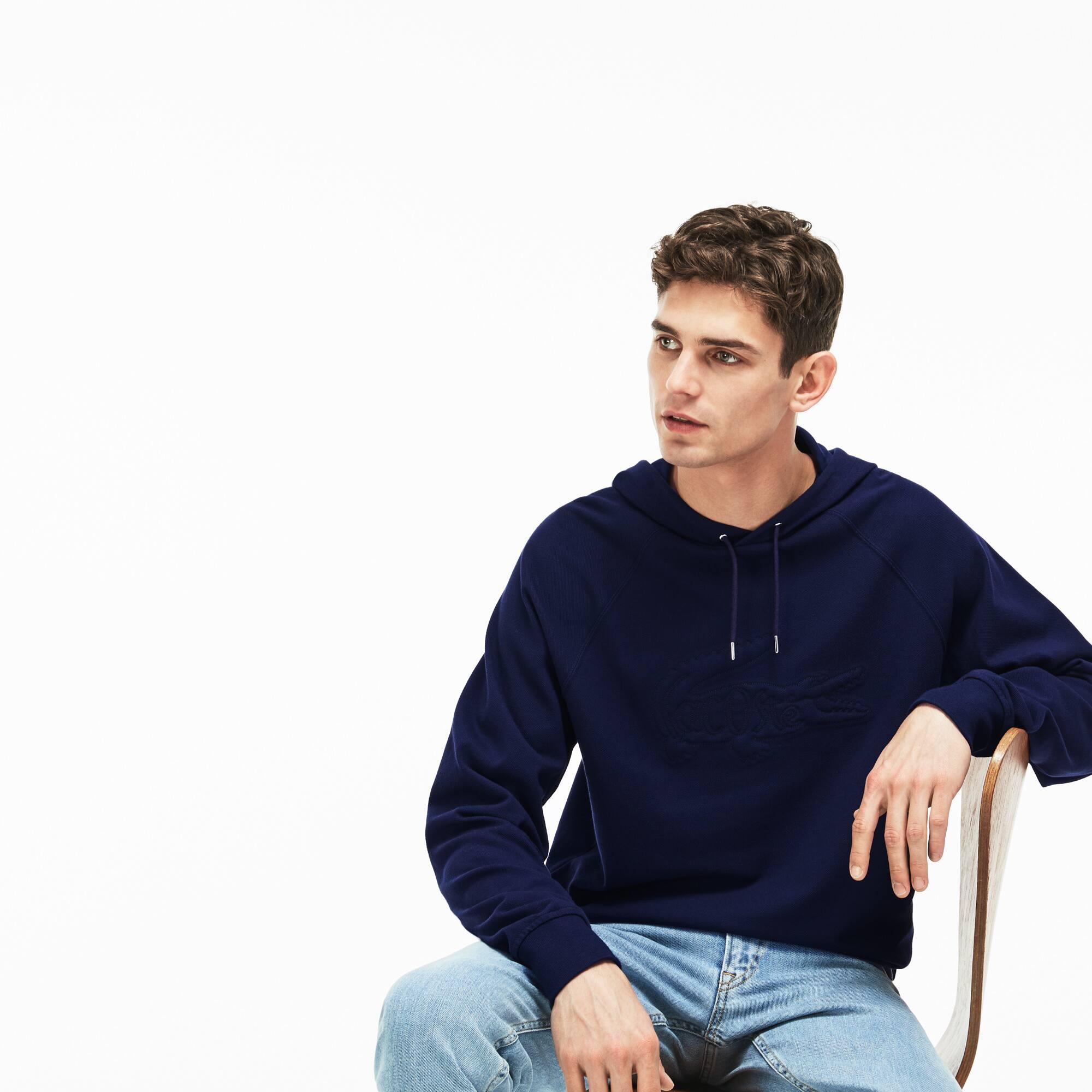 Herren-Sweatshirt in Übergröße aus besticktem Piqué mit Kapuze