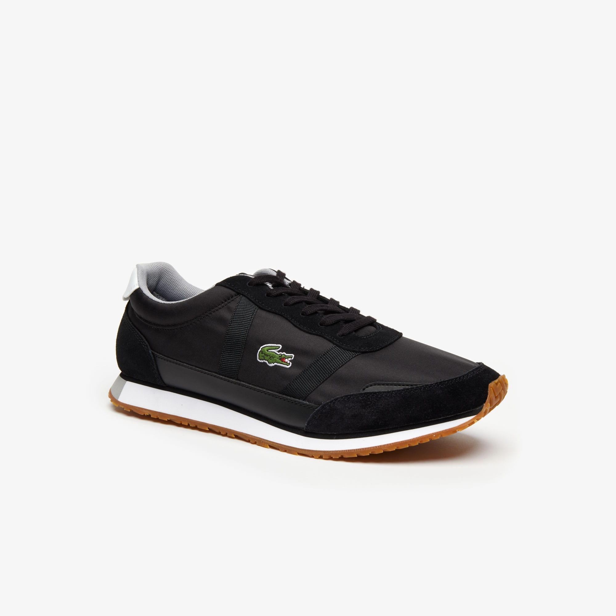 Lacoste Herren-Sneakers PARTNER aus Textil und Veloursleder - BLACK WHITE Size 42