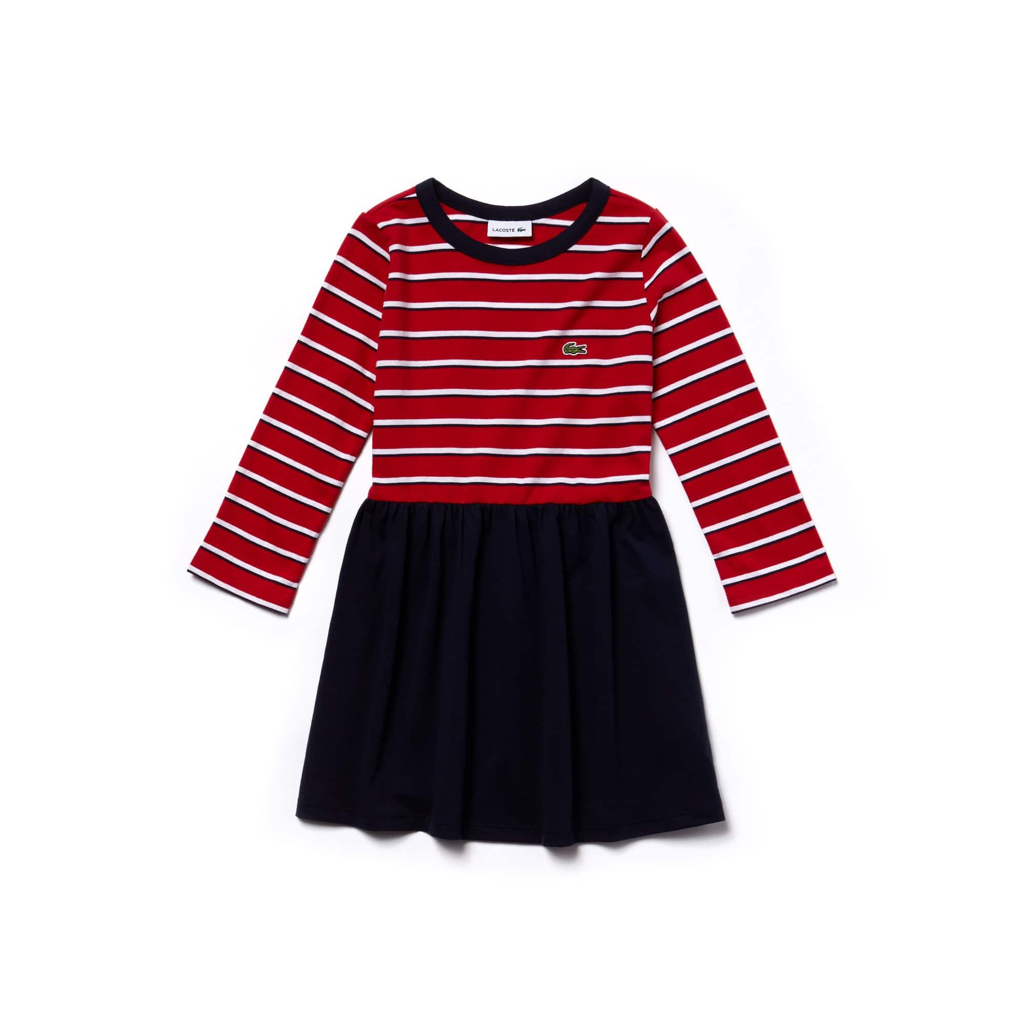 Ausgestelltes Mädchen-Kleid aus gestreiftem Baumwolljersey