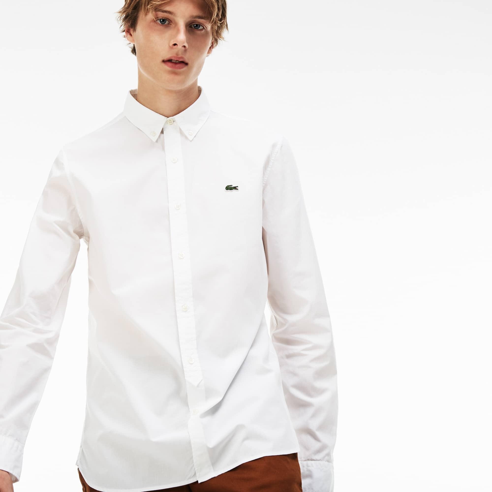 Slim Fit Herren-Hemd aus Baumwoll-Popeline LACOSTE L!VE
