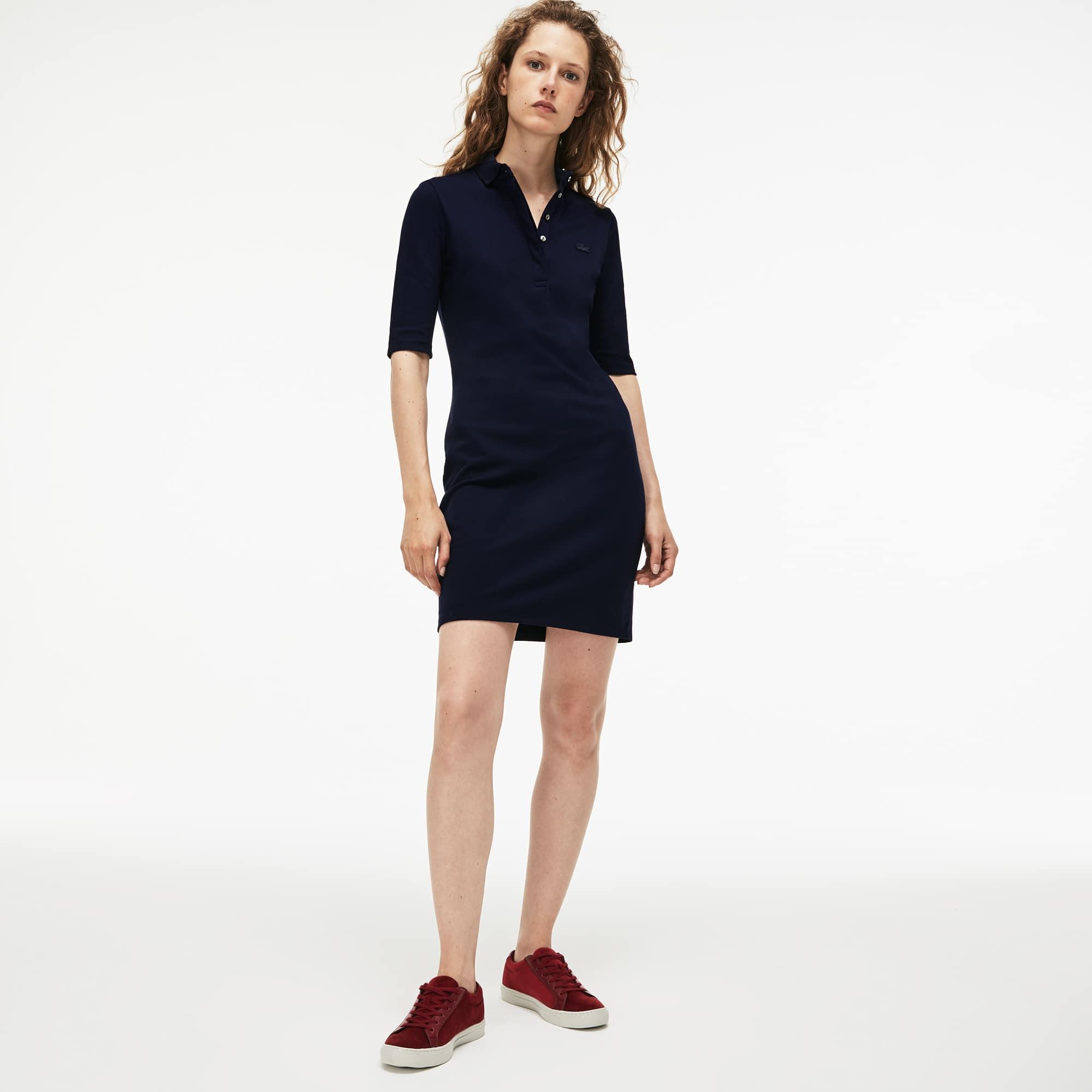 Lacoste - Slim Fit Damen-Polokleid aus Mini-Piqué mit Stretch - 1