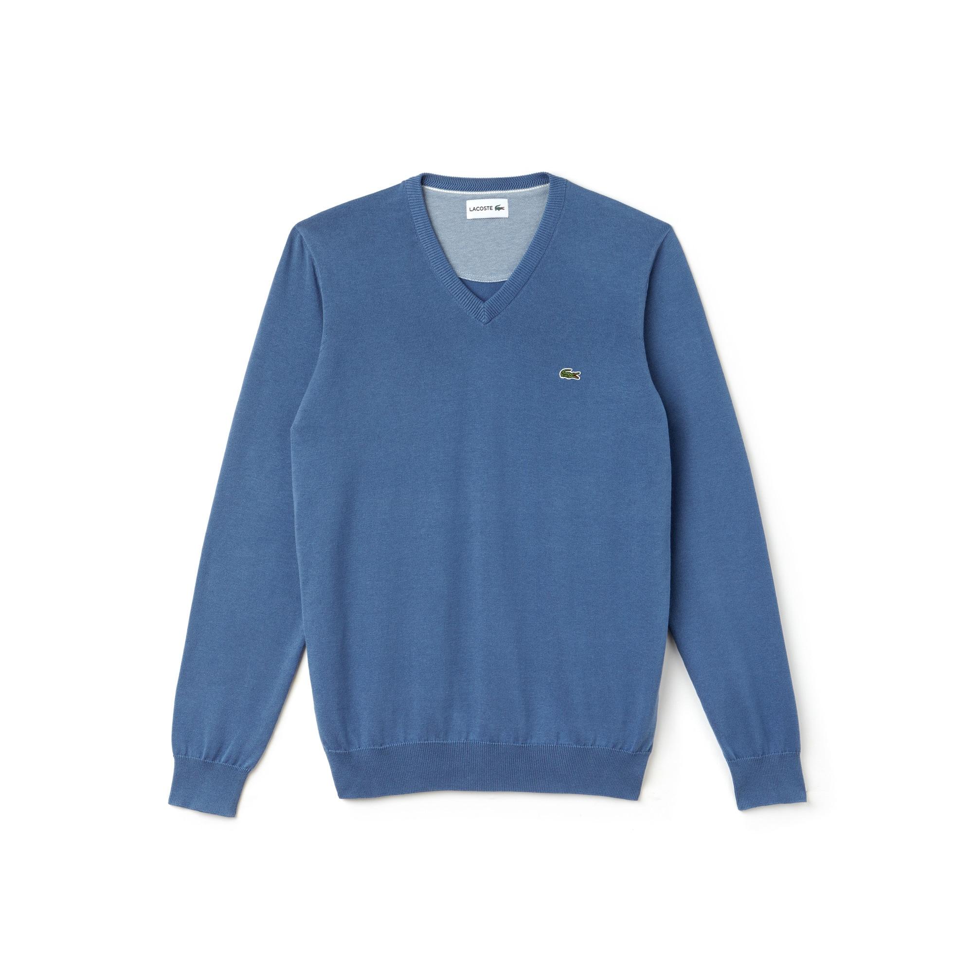 Herren-Pullover aus Baumwolljersey-Kaviar-Piqué mit V-Ausschnitt