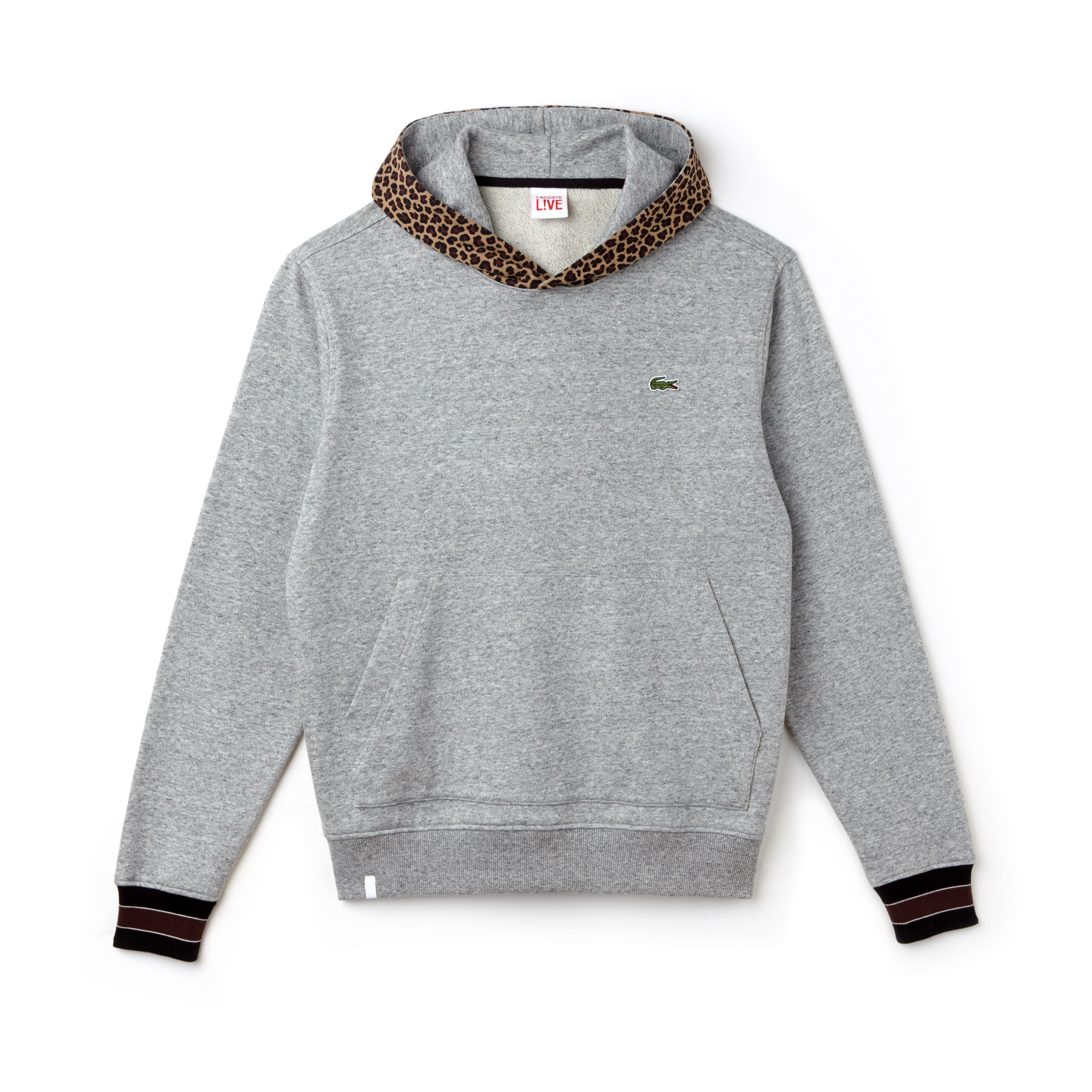 Herren-Sweatshirt mit Leopard-Print mit Kapuze LACOSTE L!VE