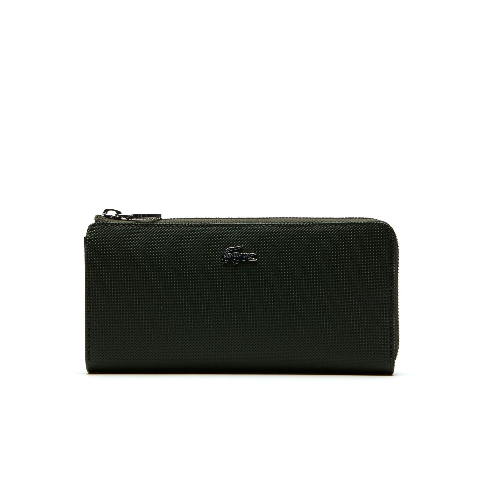 Damen Daily Classic Brieftasche Piqué-Leder mit Reißverschluss