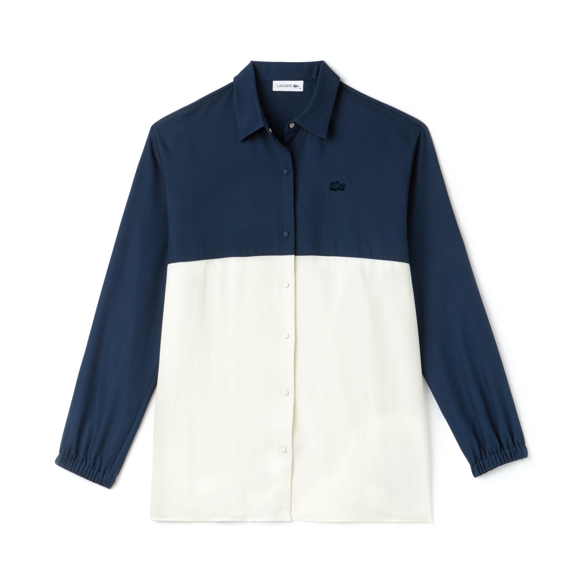 Damen Regular Fit zweifarbige Piqué-Bluse