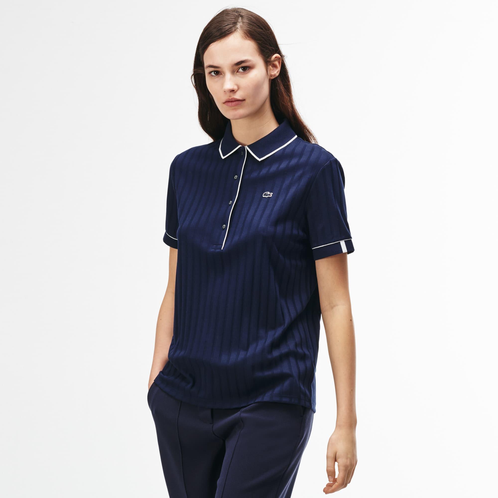 Damen-Poloshirt aus gerippter Baumwolle LACOSTE L!VE