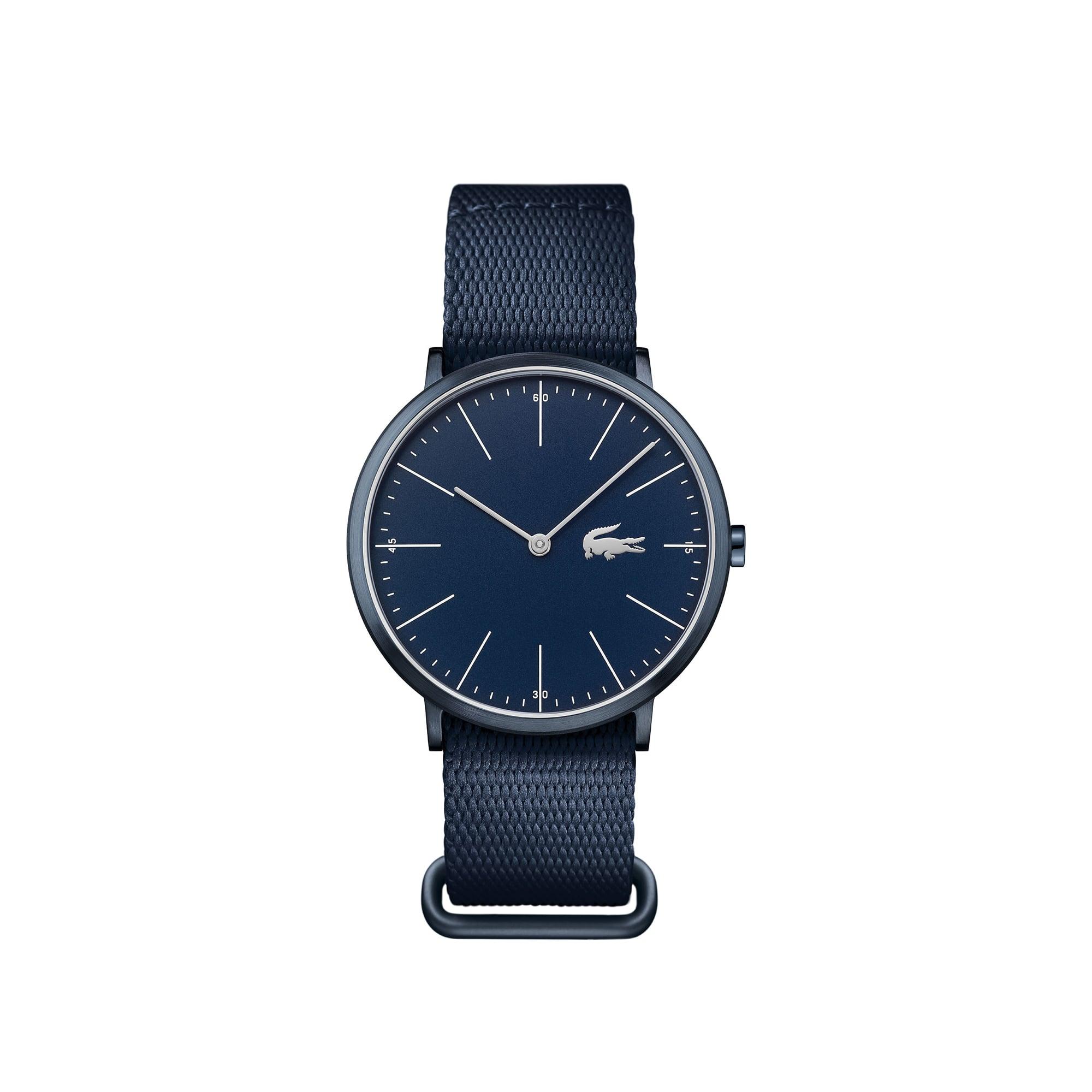 Uhr mit blauem Zifferblatt und Armband aus Textil und Leder Moon